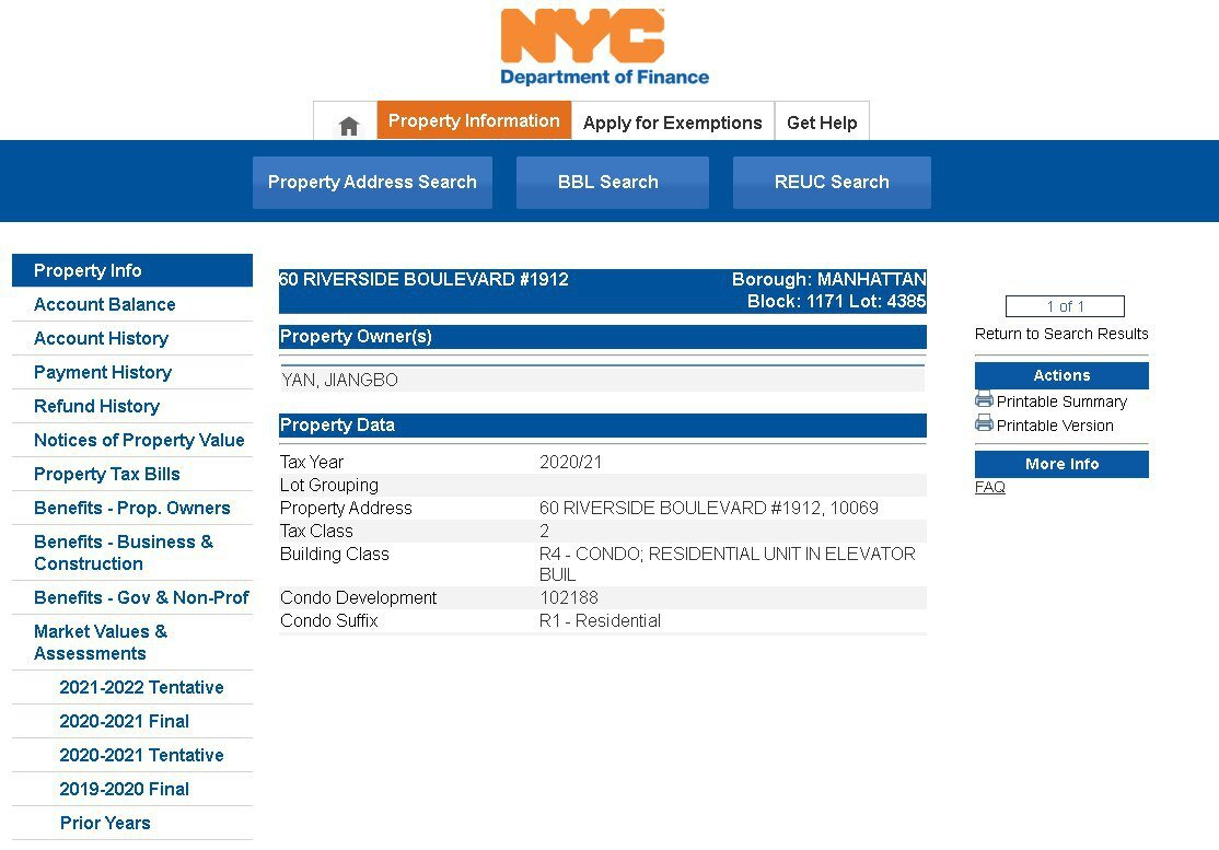 紐約政府網站上房產 60 Riverside Blvd, Apt 1912的業主信息。