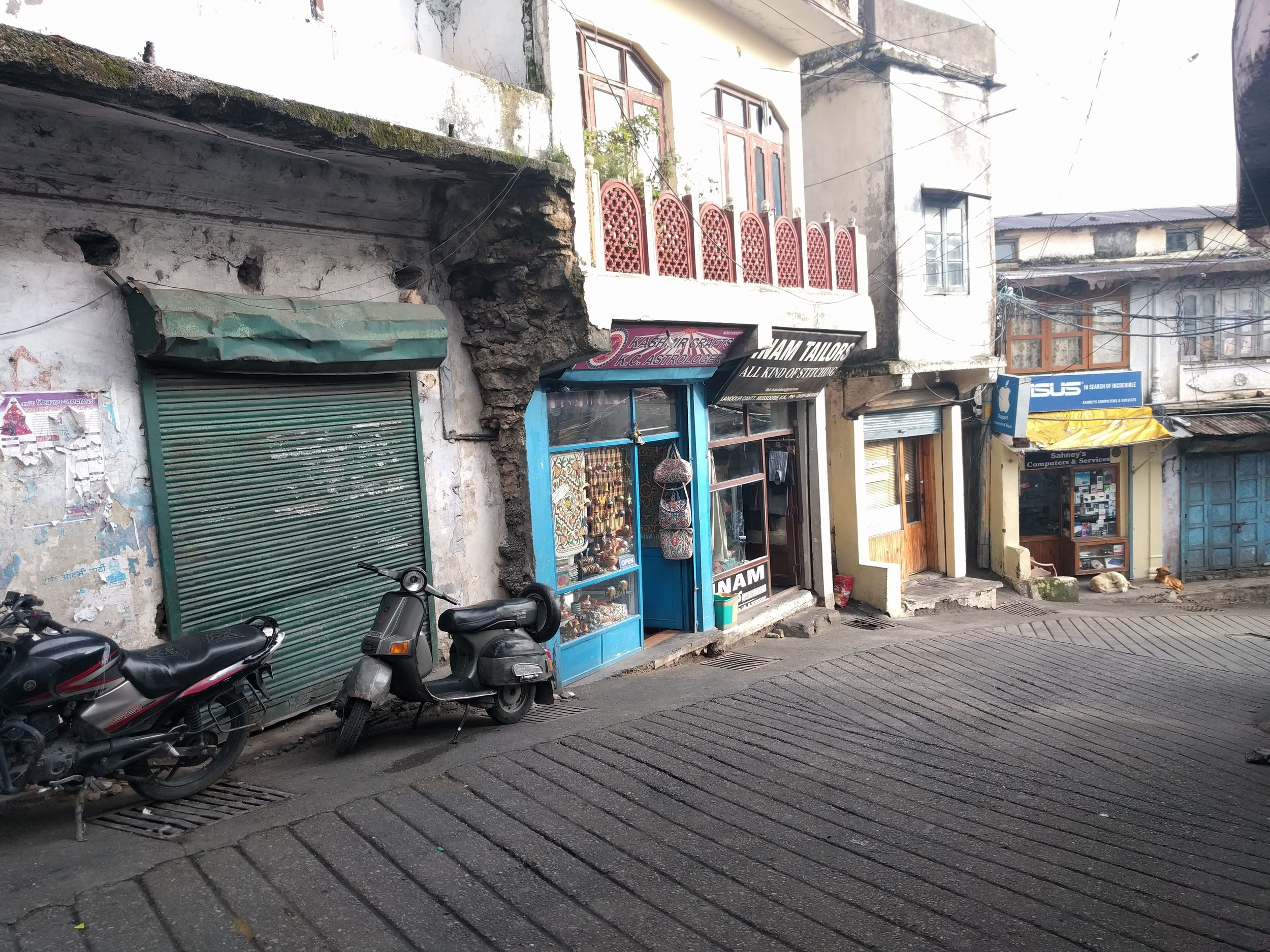 "A few Mussoorie shopfronts, including ""our"" tailor and electronics store"