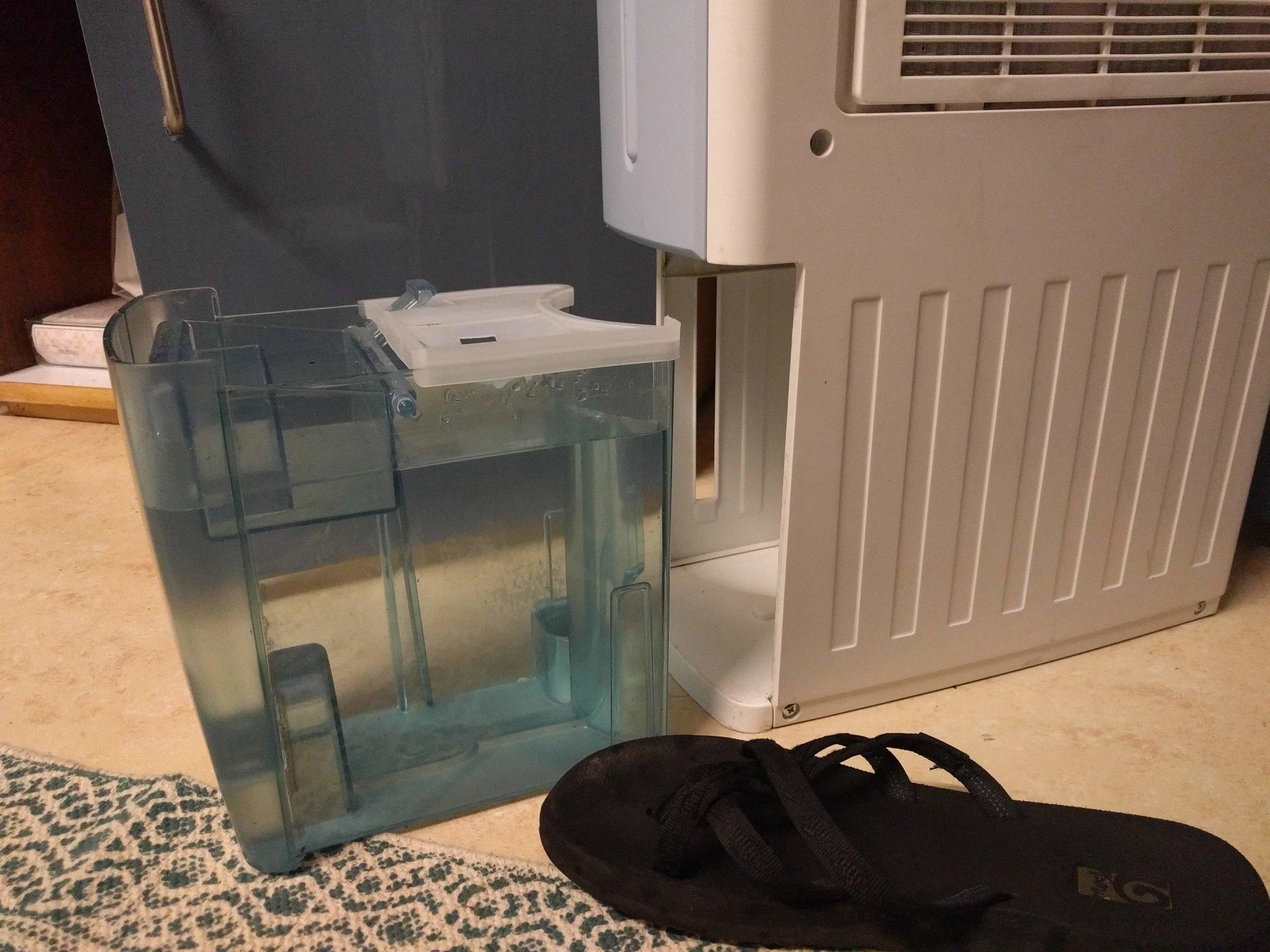 A full dehumidifier tank (flip-flip for scale)