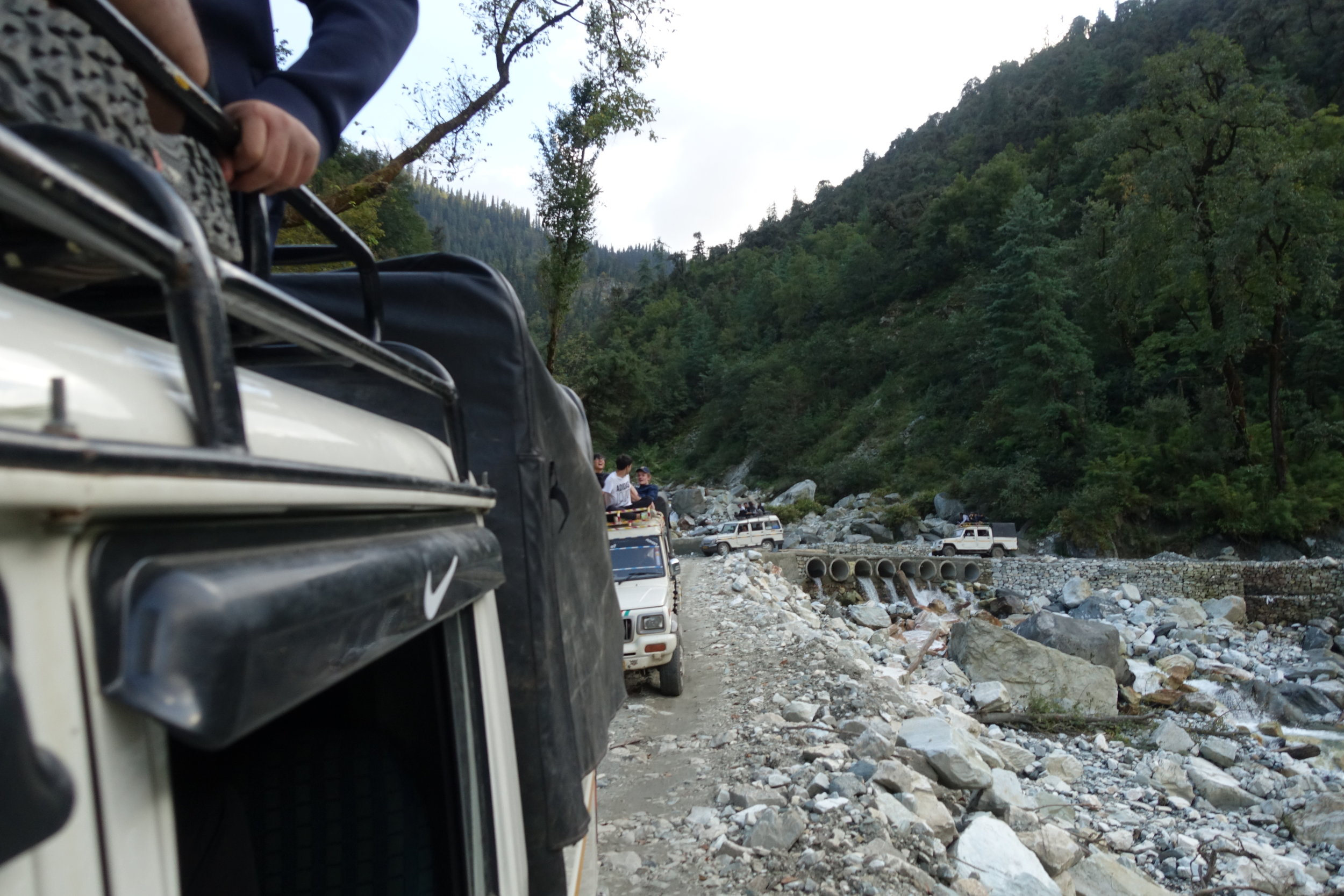 To get to our trailhead, we had to ditch our vans for jeeps and then ditch those jeeps for other jeeps where a landslide had wrecked the road.