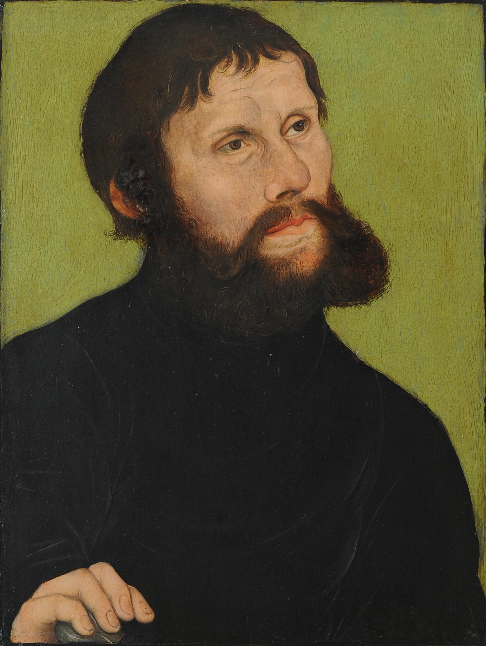 """Retrato de Martín Lutero disfrazado de """"Jünker Jörg"""",  de Lucas Cranach, 1521"""