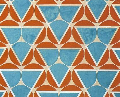 Diseño textil  Círculos en punta - Verde Azulado y Naranja, de Varvara Stepanova, 1923