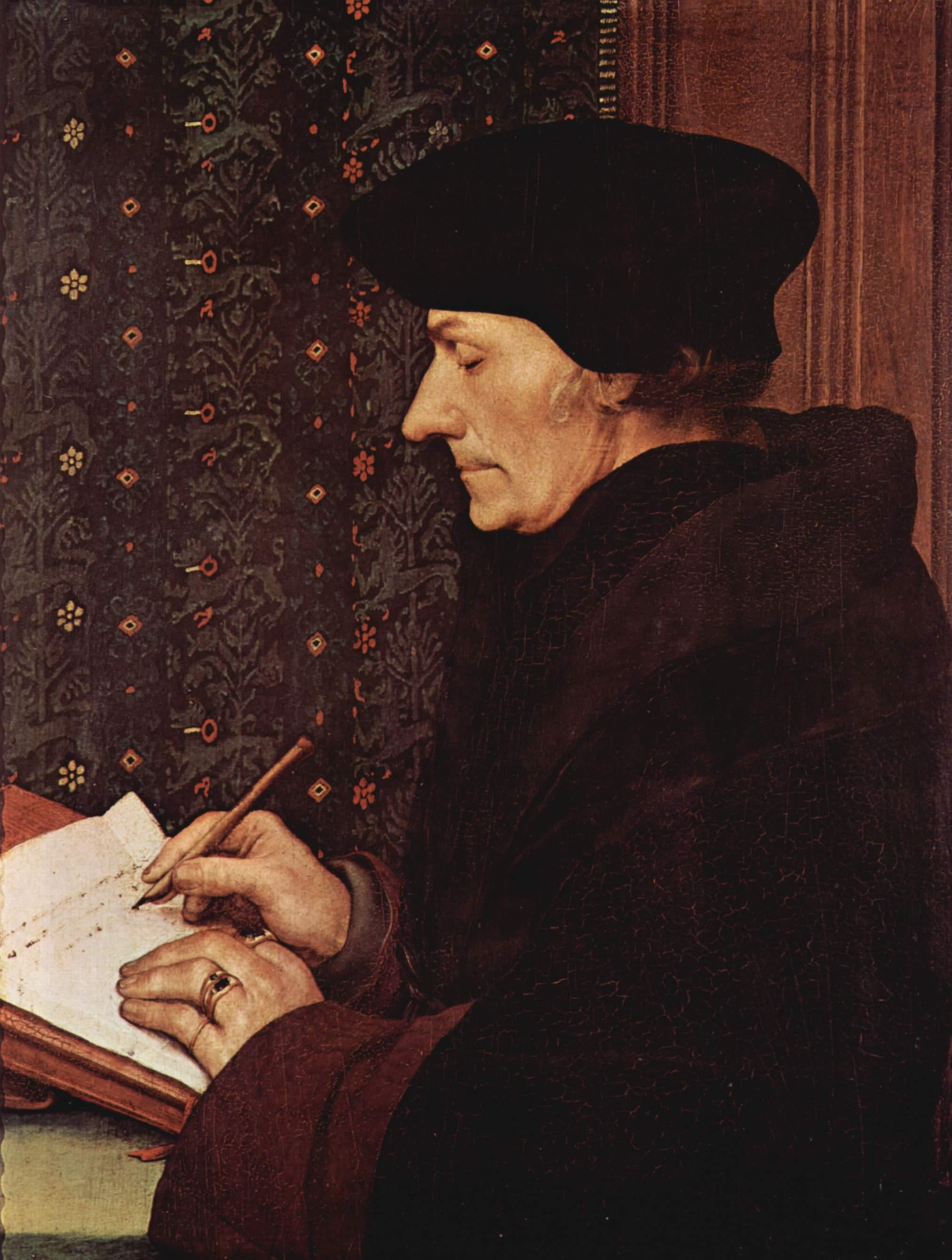 Retrato de Erasmo de Rotterdam, de Hans Holbein, primer cuarto del s. XVI