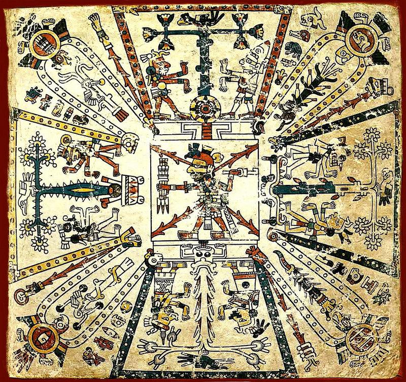 Primera página del Códice  Fejérváry-Mayer, con un glifo de un árbol de cacao a la derecha