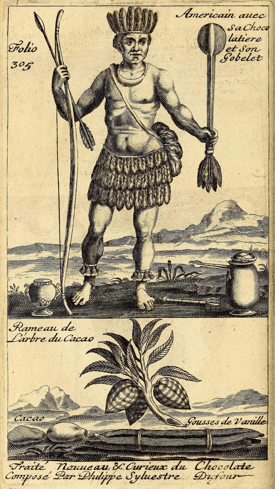 """Frontispicio de la sección """"chocolate"""" en  Traitez nouveaux et curieux du café, du thé et du chocolate,    Philippe Dufour, 1685"""
