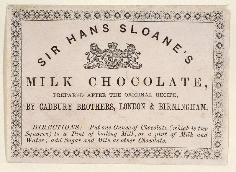 Etiqueta de una bebida de leche con chocolate de Cadbury refiriendo la receta atribuida a Sloane, c. 1850