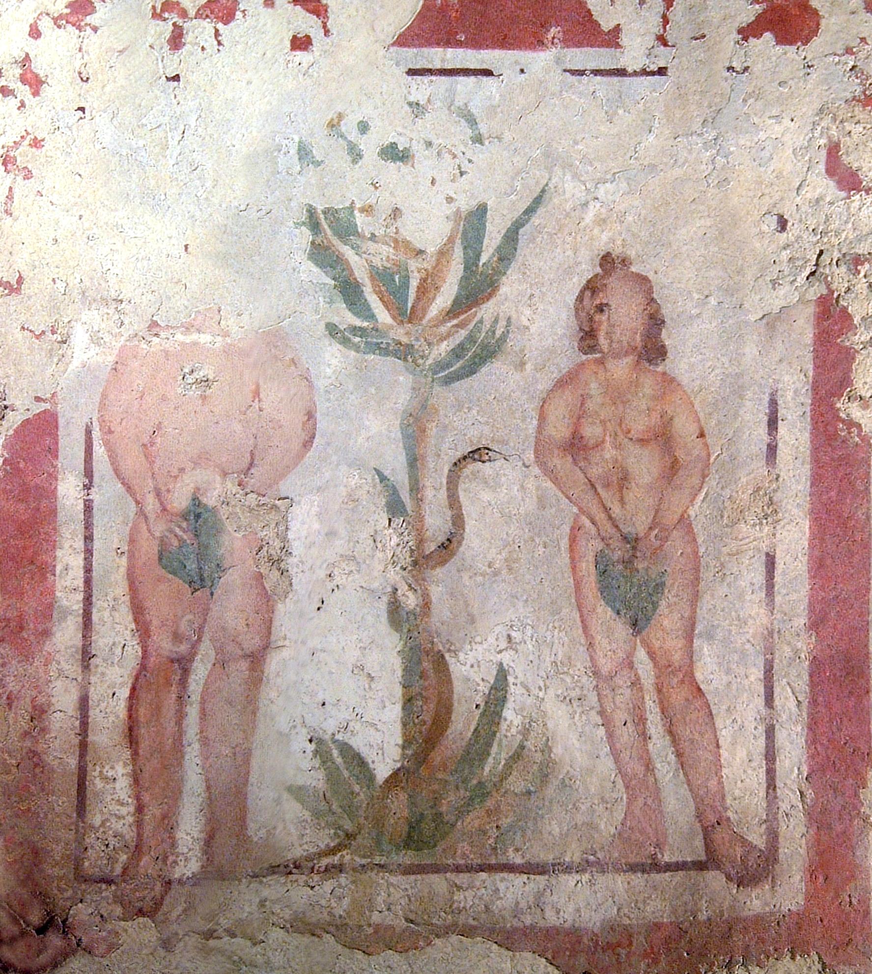 Adán y Eva, fresco de la Necrópolis de Pécs, siglo IV