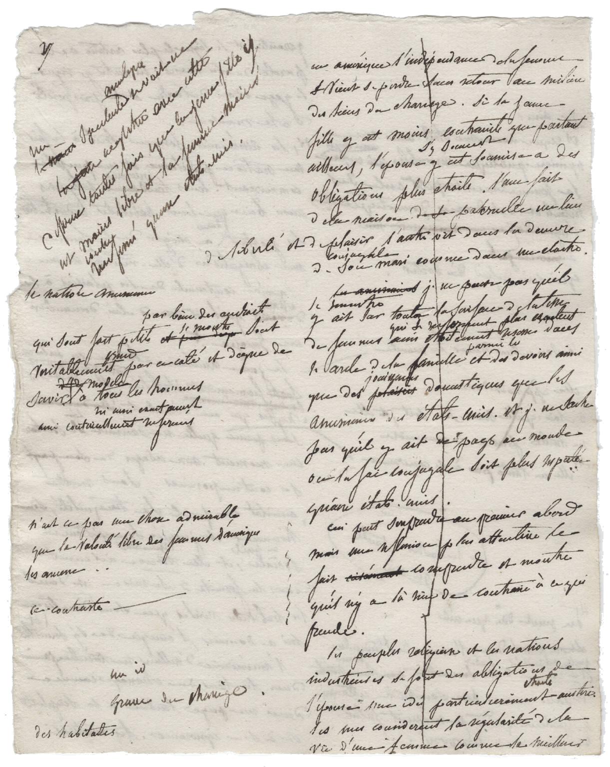 Página del manuscrito de  La democracia en América, de Alexis de Tocqueville, c. 1840