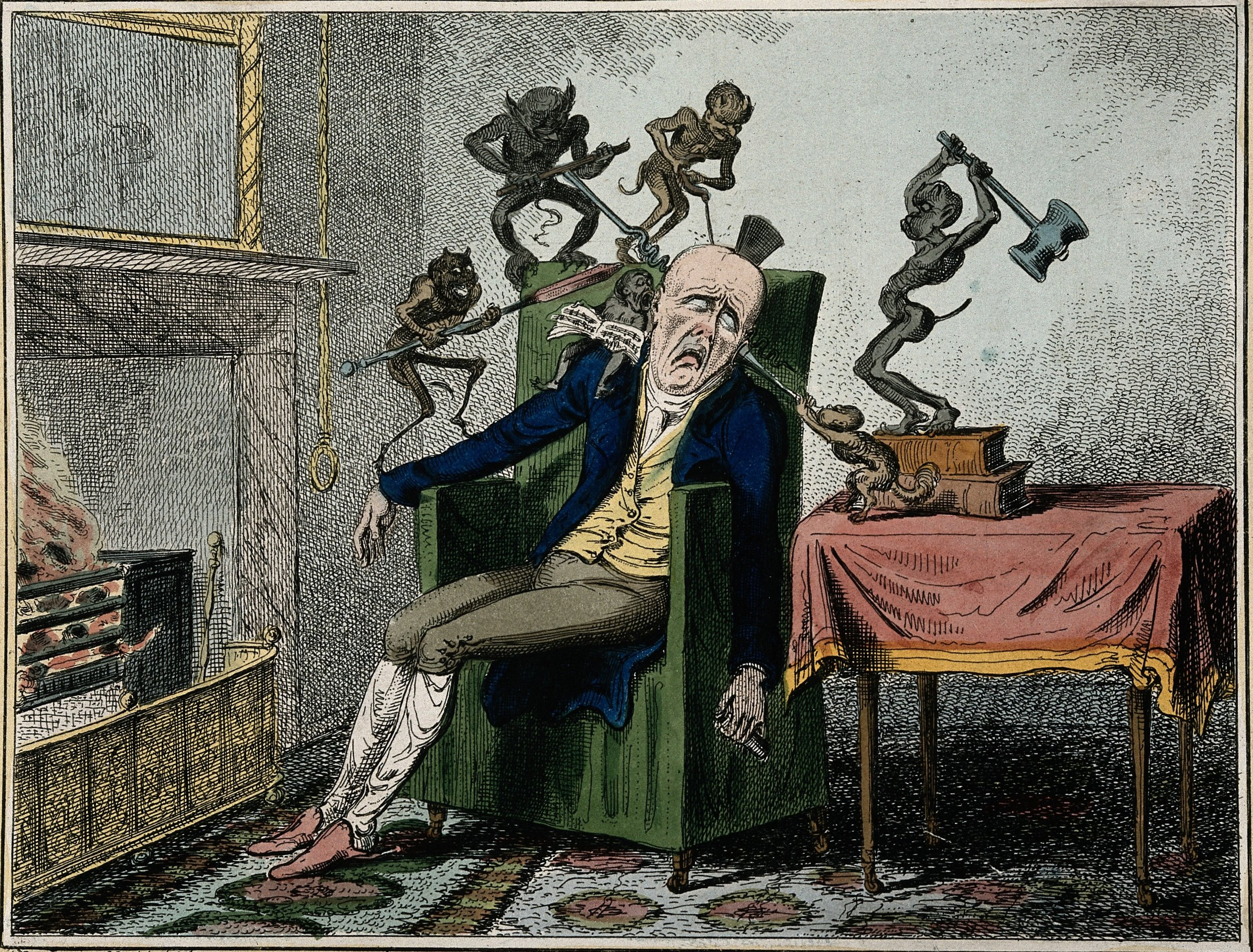El dolor de cabeza, de George Cruikshank, 1819