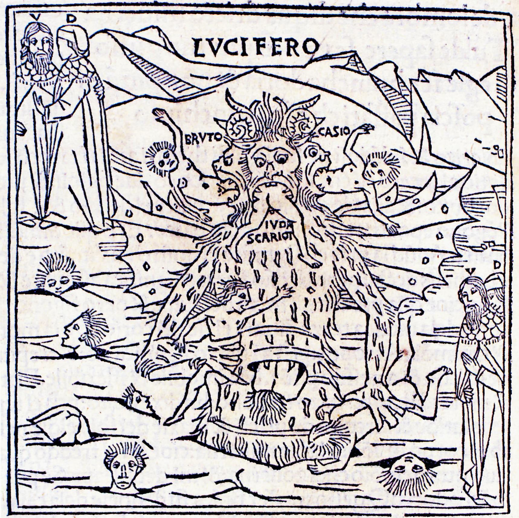 Xilografía para Infierno, canto 34, de Petrus de Plasiis, 1491