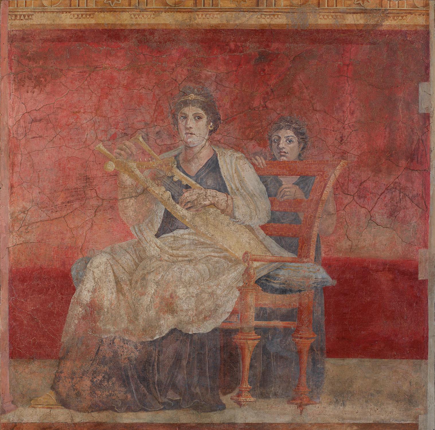 Mujer con una cítara.  Fresco de la Villa de Publio Fannio Sinistor en Boscoreale, c. 30-40 a. C.
