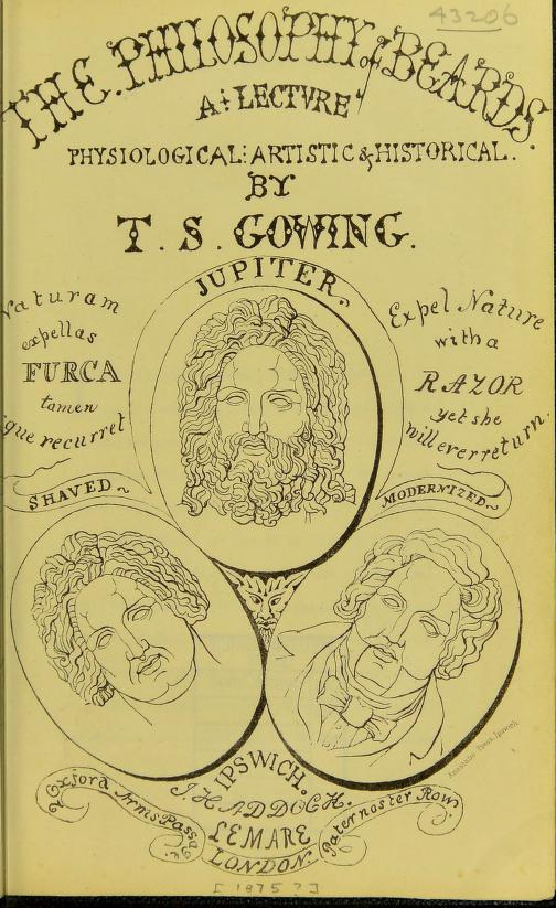 Portada del libro  The Philosophy of Beards,  de T. S. Gowing, 1875