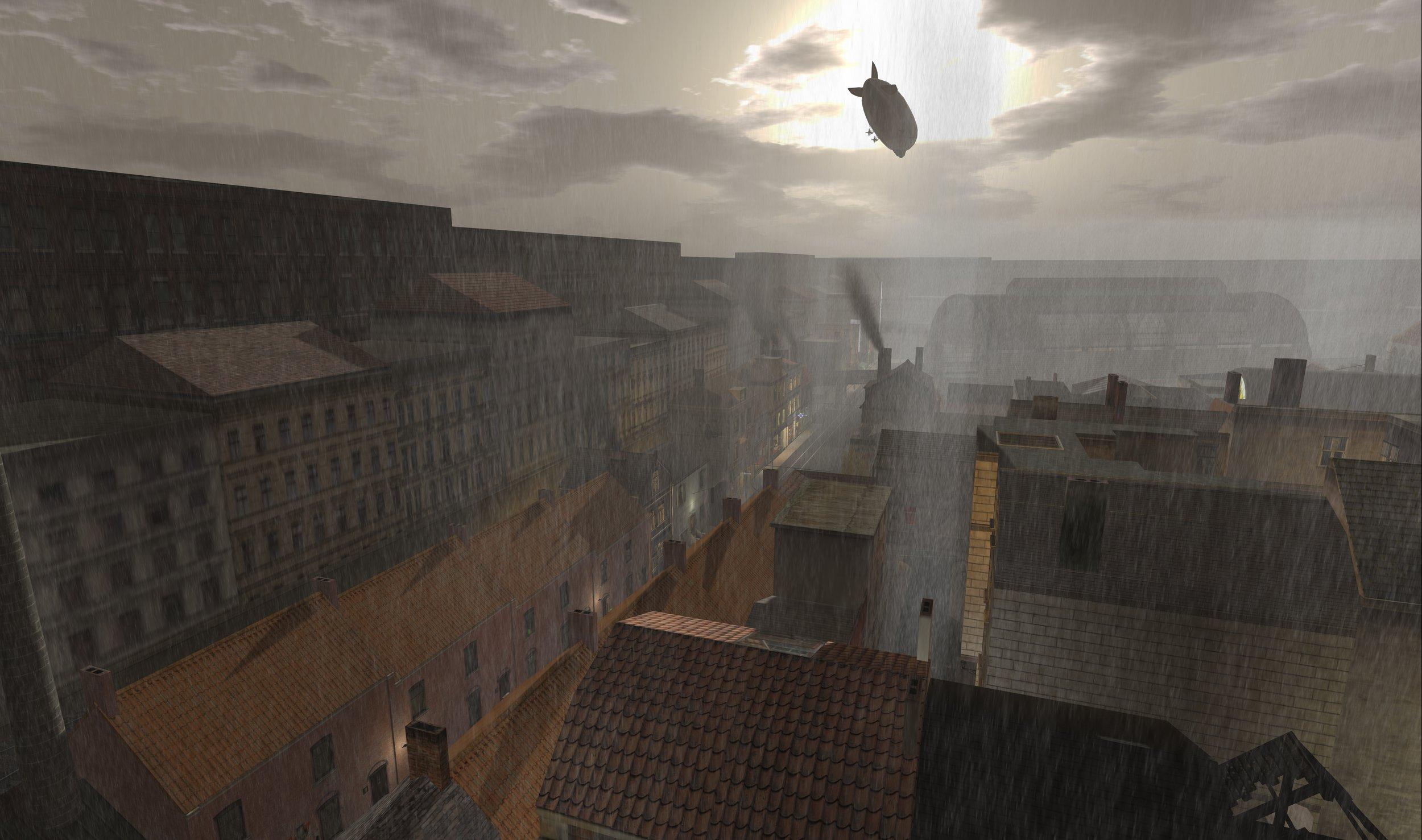 Un Zeppelin sobrevuela un barrio de clase obrera en  The 1920s Berlin Project,  desarrollado en el mundo virtual de  Second Life, por Jo Yardley, 2016 ( fuente )