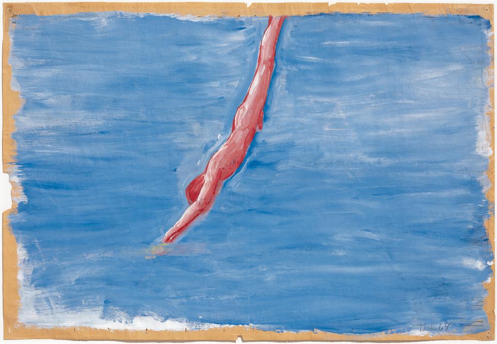 Sin título (nadador),  por Paul Thek, acrílico y gesso sobre papel de diario, 1969-1970
