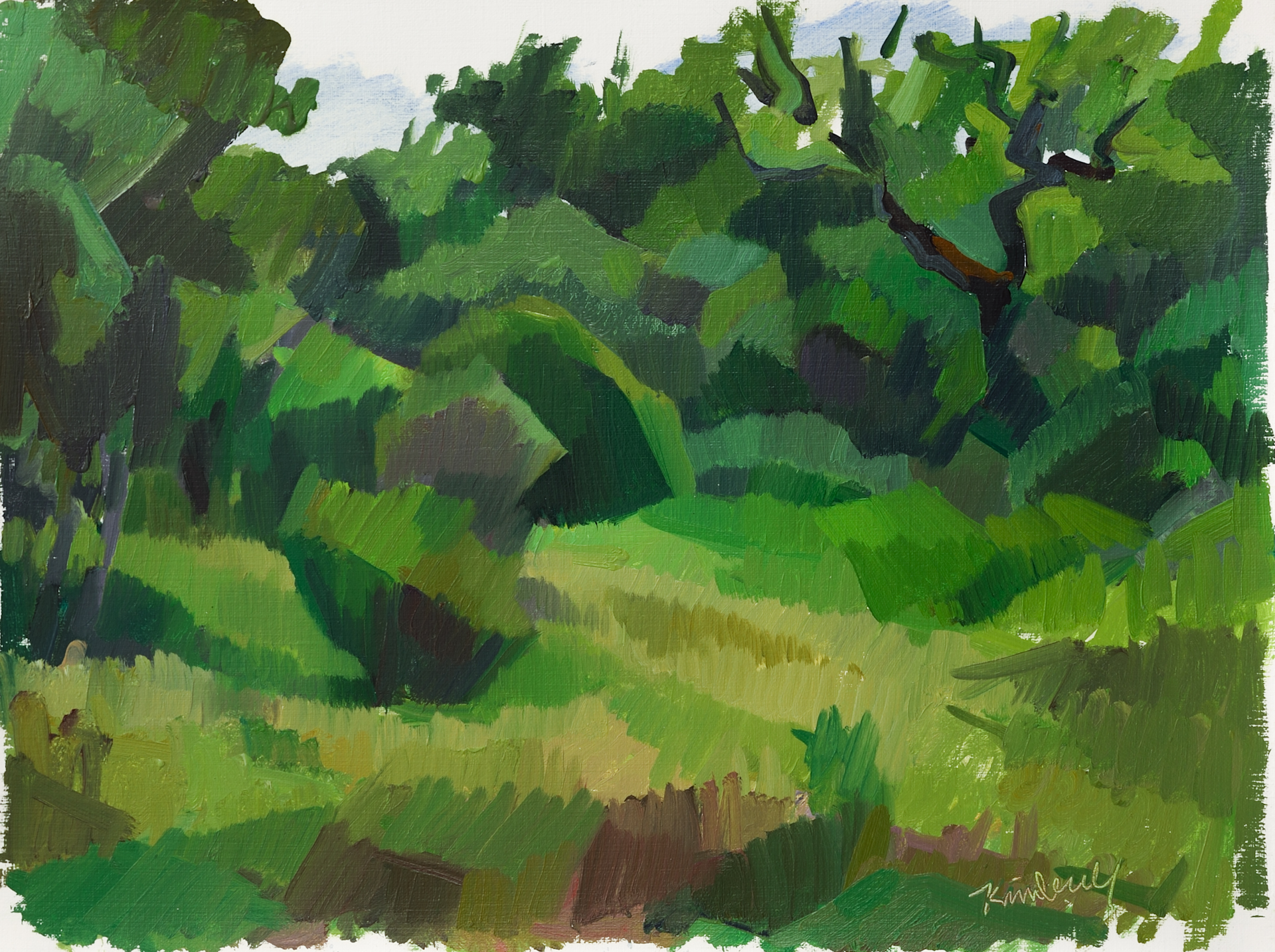 "Evoramonte (green field i),   Oil on Paper, 12"" x 16,"" 2014.  Private Collection."