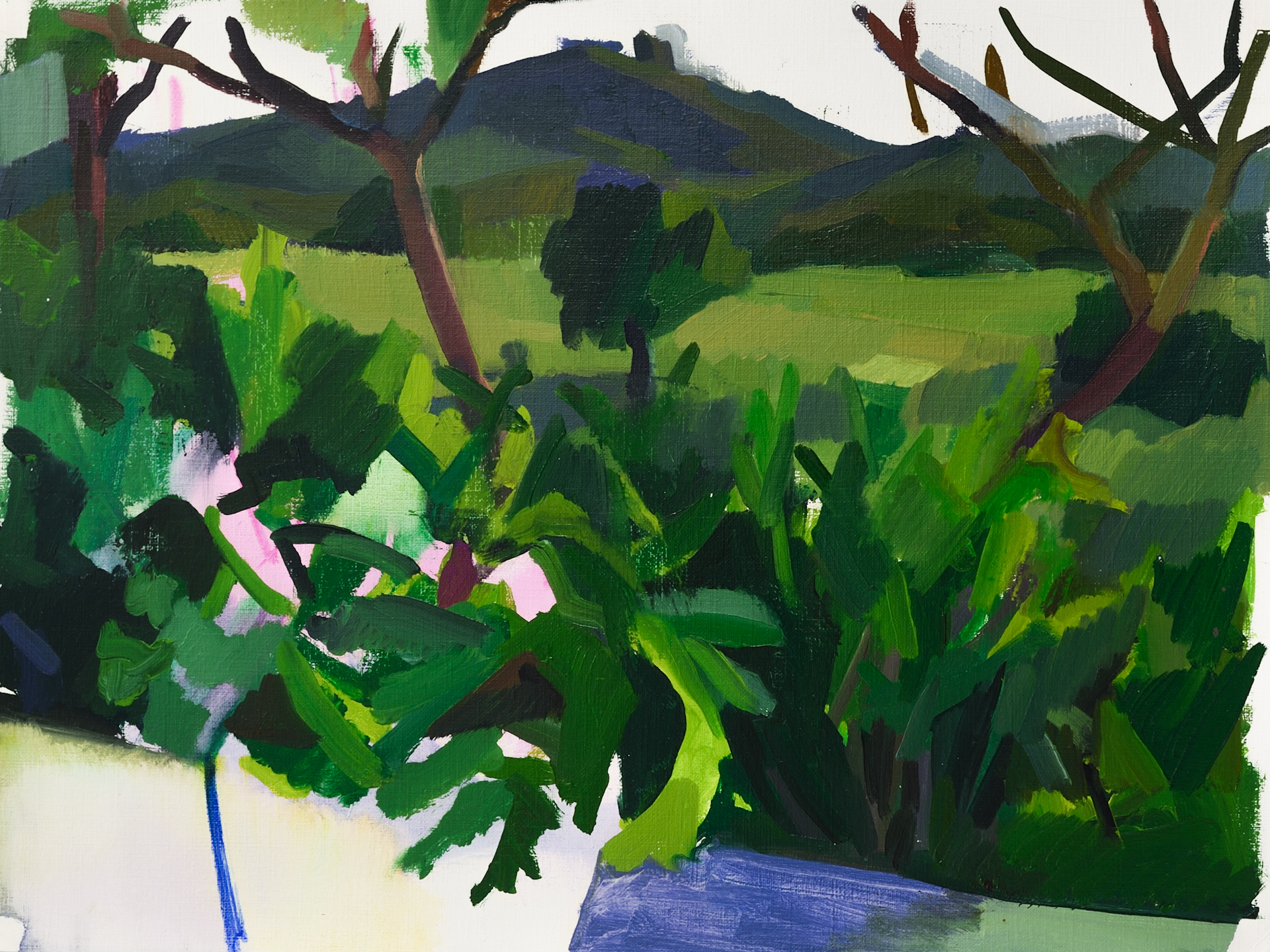 "Campo e Flores  , Oil on Paper, 12"" x 16,"" 2014.  Available for Purchase."
