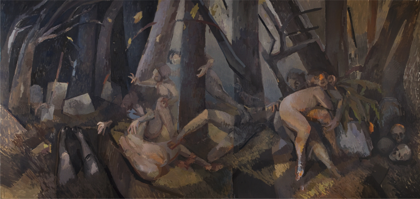 """Gravediggers  , Oil on Canvas, 90"""" x 168,"""" 2010. Available for Purchase."""