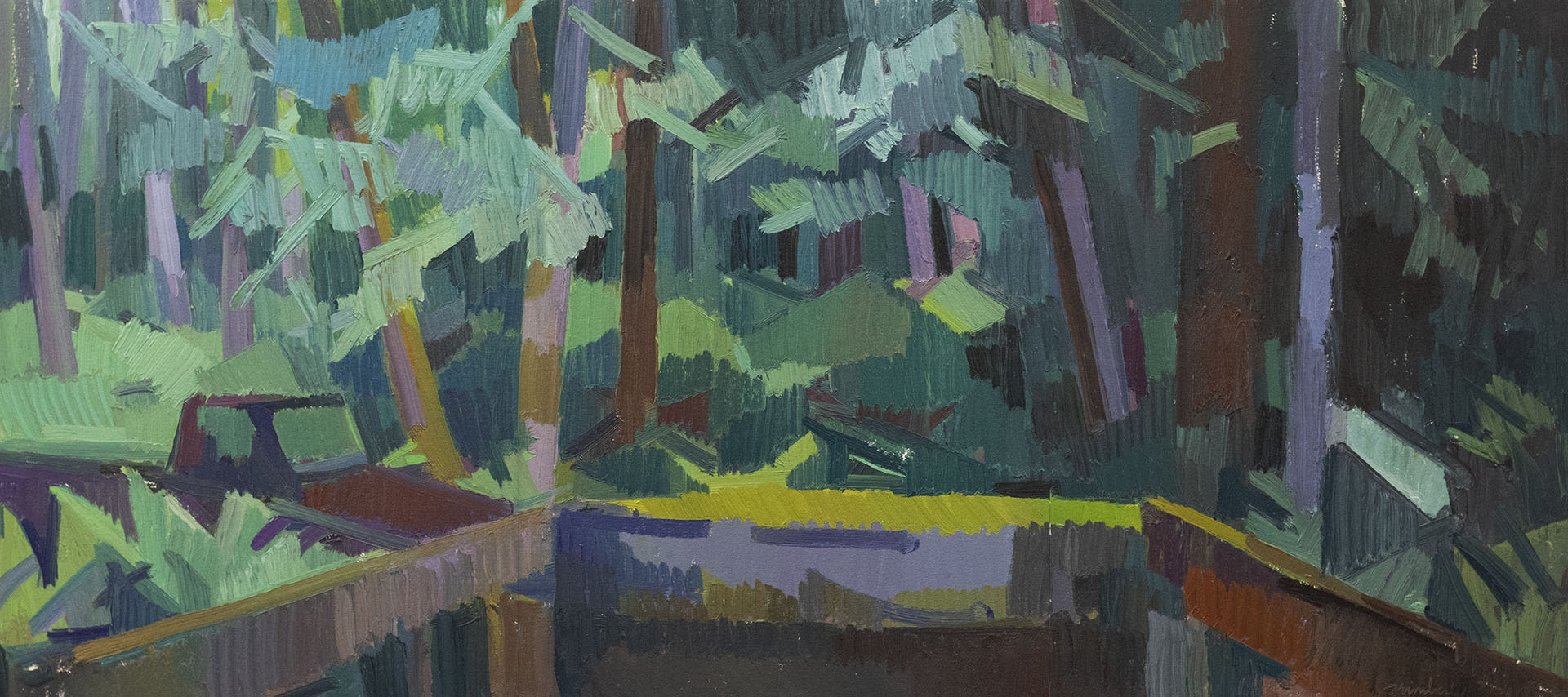 "Truck & Forest at Twilight  , Oil on Paper, 16"" x 36,"" 2018.  Private Collection."