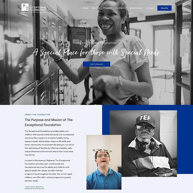 "There is only one word that can describe this entire project: exceptional. We were so honored to have the opportunity to design a website for an organization that changes so many lives. The Exceptional Foundation wanted a website that accurately portrayed the essence of who they are while successfully reaching future members, volunteers, and donors. Using Squarespace we created a completely customized virtual ""home"" for The Exceptional Foundation to continue telling their story and reaching new people. ✨Marketing Team: @fetch.marketing ✨Photographer: @abryanphoto"
