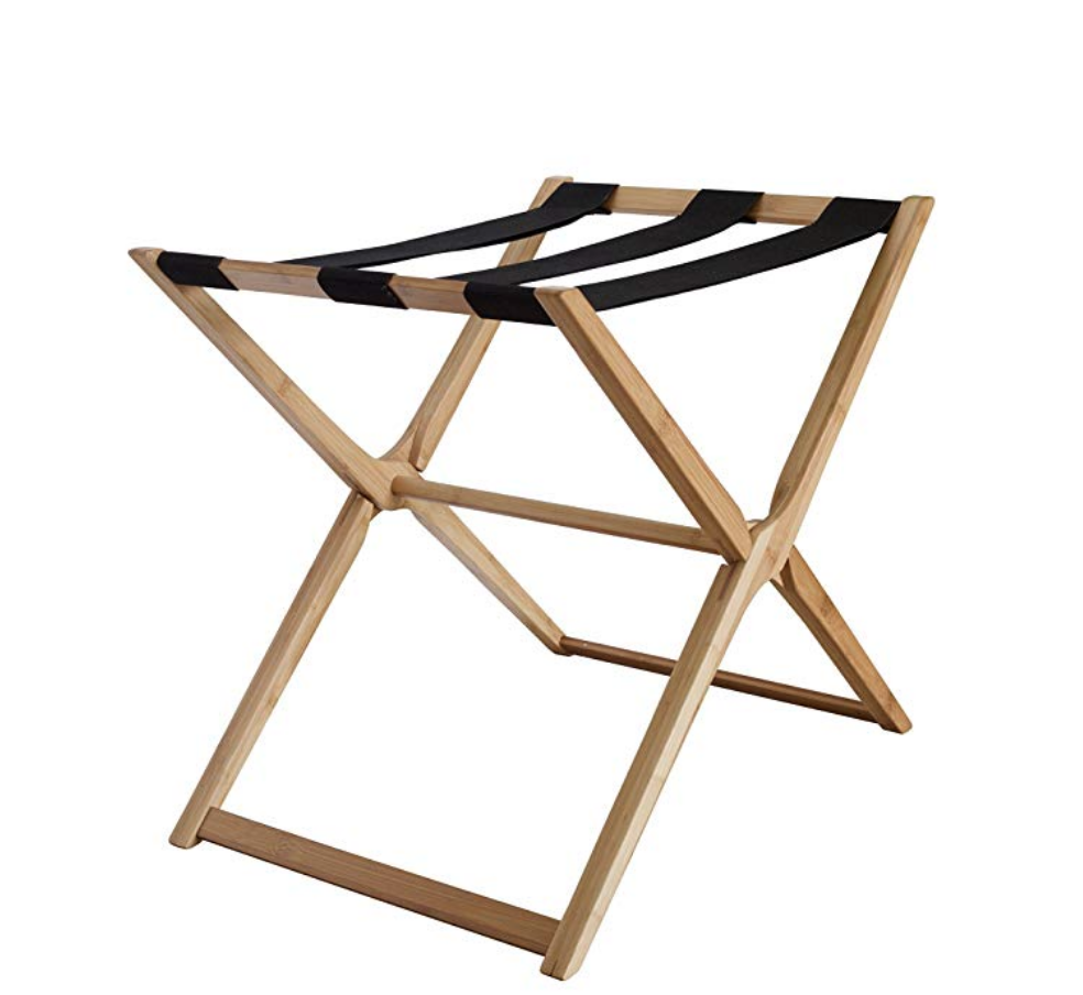 a must have - The luggage rack in my opinion is a must have and I found a simple one that is made out of sustainable material and did not have leather straps on top. As a vegan designer it was very important for me to find a piece without the leather straps and it proved to be not so easy. (Please note, that by clicking on my affiliate link I will get a small commission at no cost to you.)