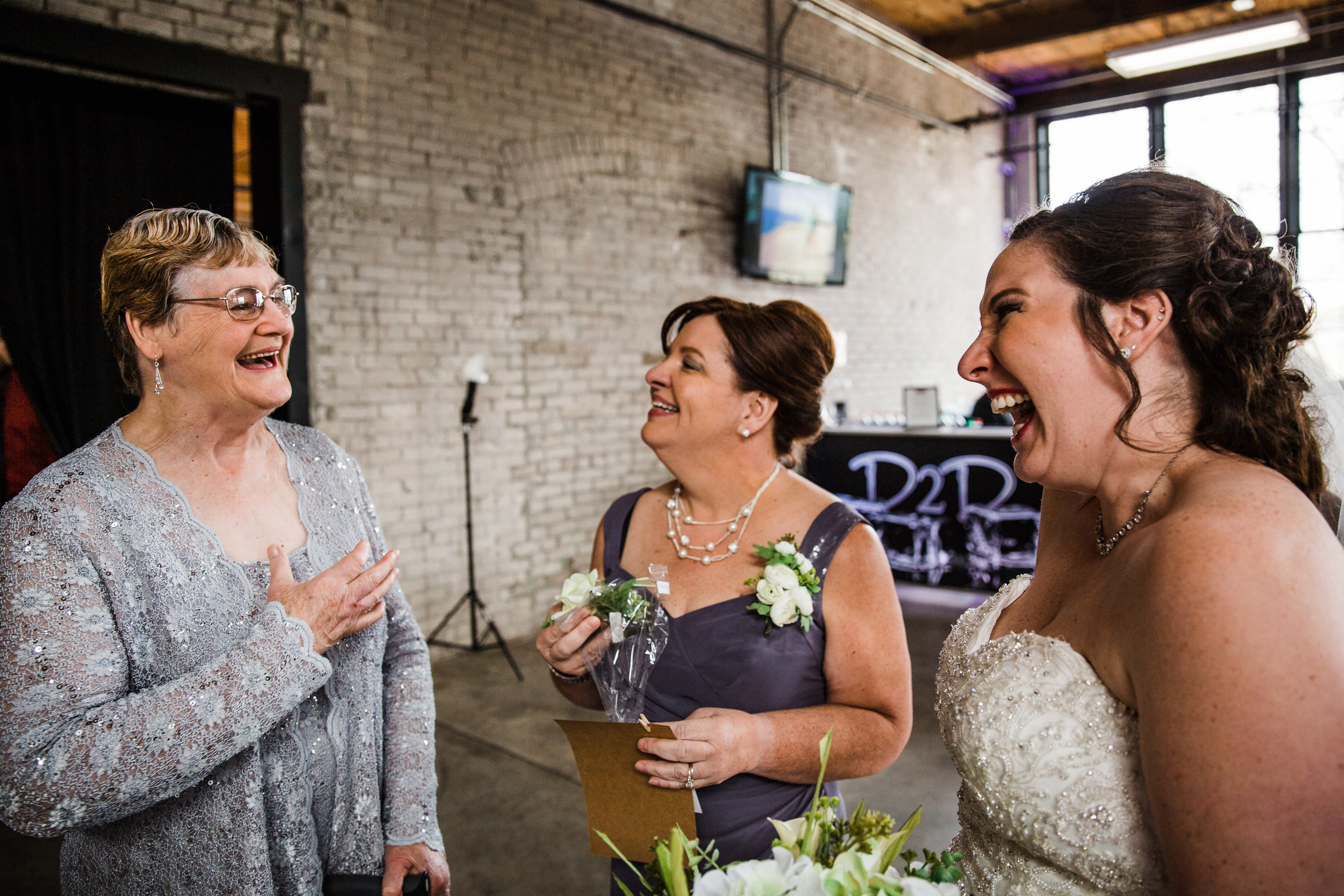 Michigan Wedding Reception - Bride Laughing with Mom and Grandma.jpg