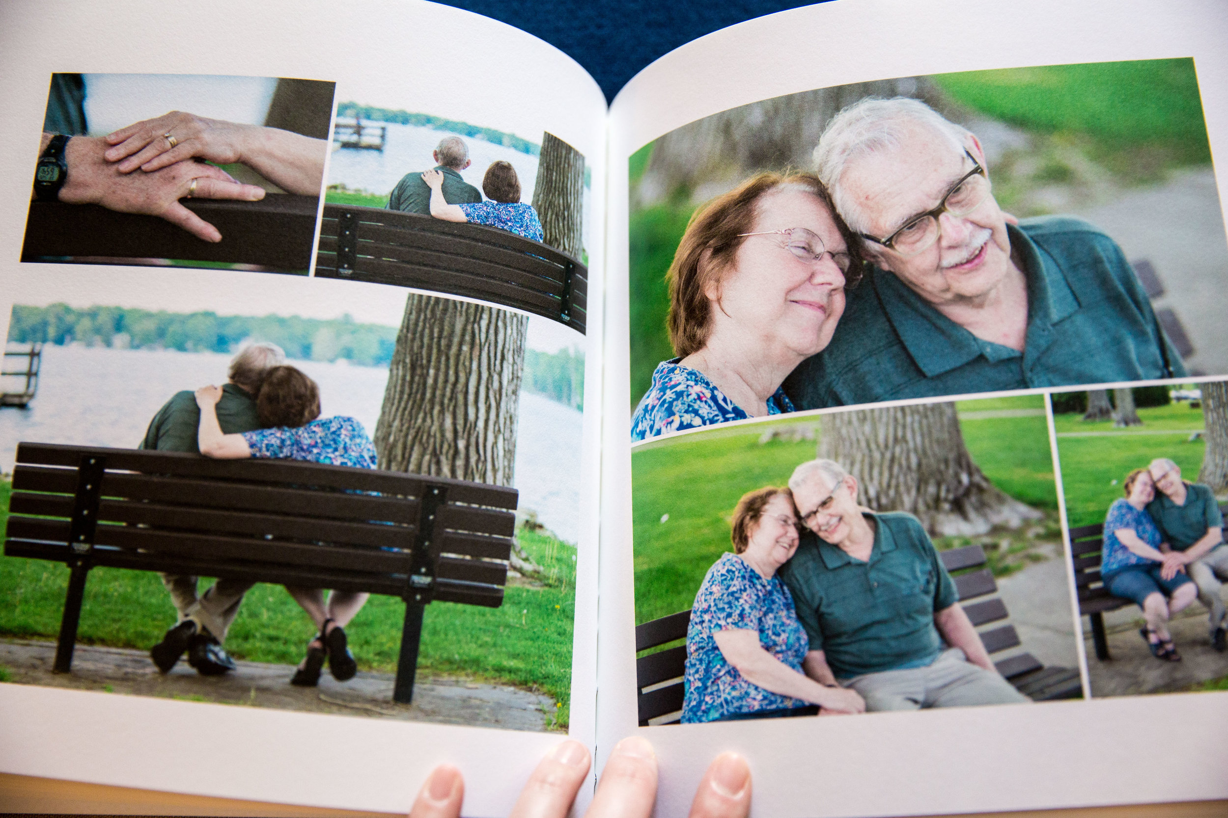 "Like your love, I want your photography investment to last a lifetime (and beyond)! Pictured here: a 50th anniversary session in a 10"" x 10"" fine art photo book."