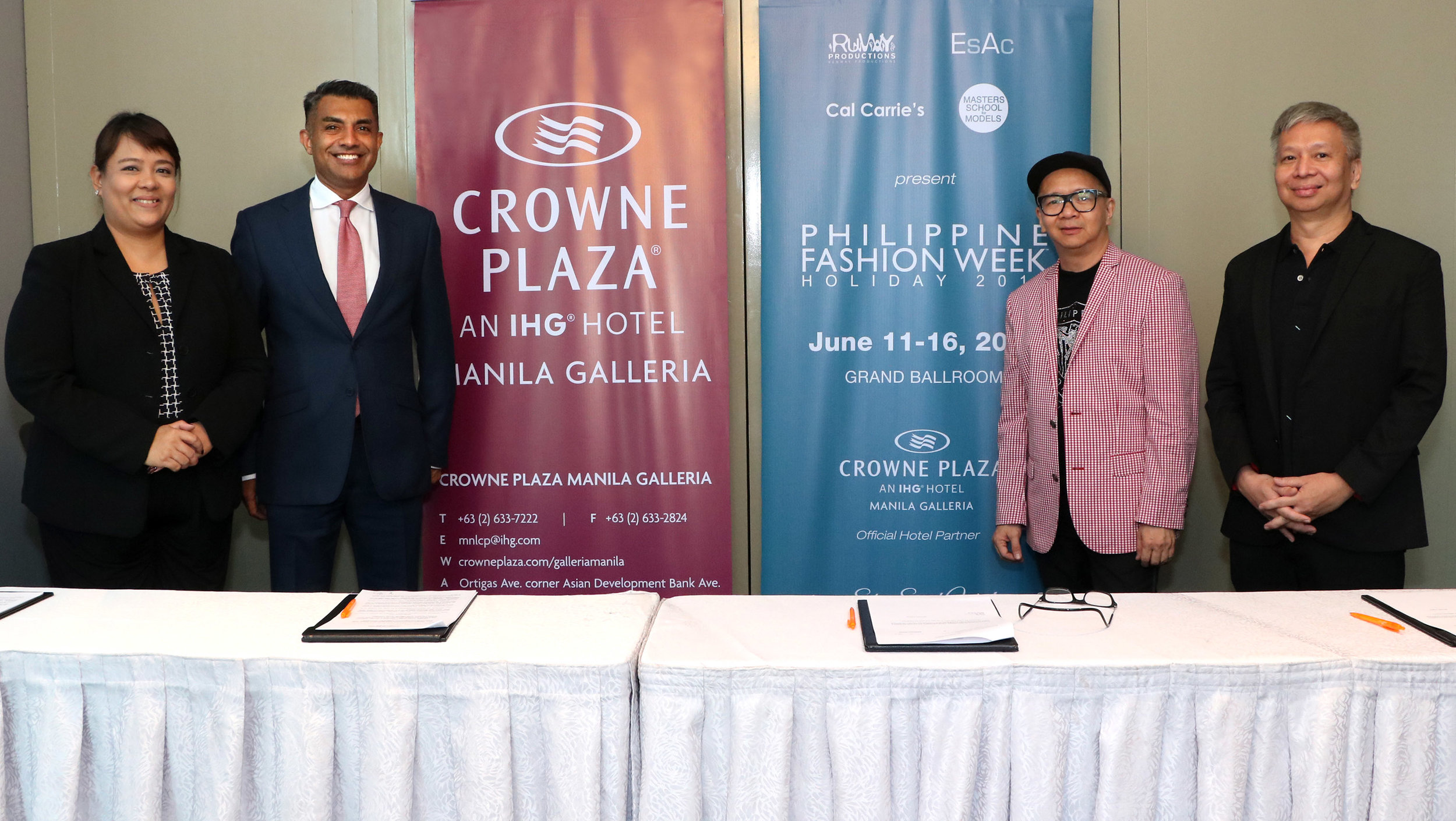 Crowne Plaza Manila Galleria and Philippine Fashion Week (Runway Productions) mark three-year partnership at the contract signing and press announcement on June 11, 2019 with Crowne Plaza Manila Galleria General Manager Gaurav Rai, Executive Assistant Manager Gibeth Gloria, Executive Producers and owner of Runway Productions Joey and Audie Espino.