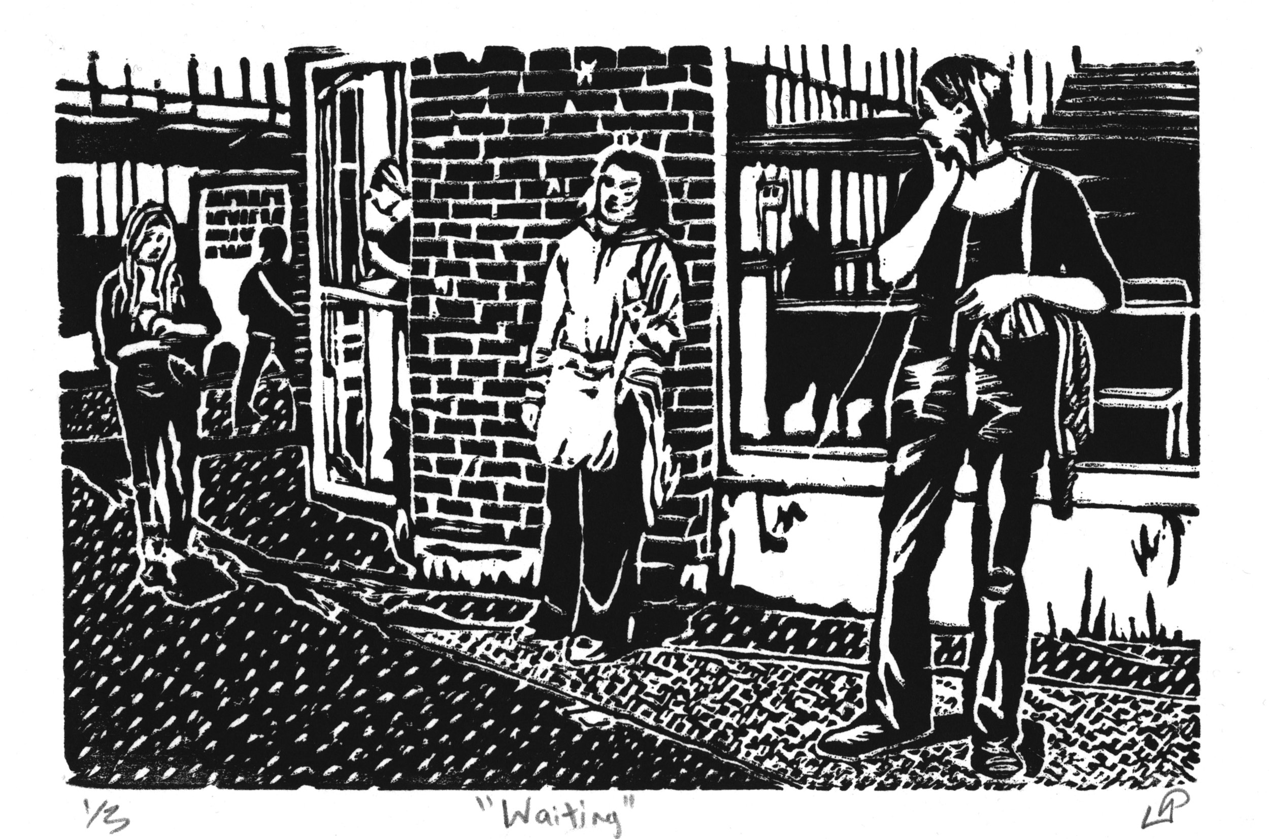 """""""Waiting"""" with Kathleen Springer, Disability Memory Series, Hand-printed Woodcut (2011)"""