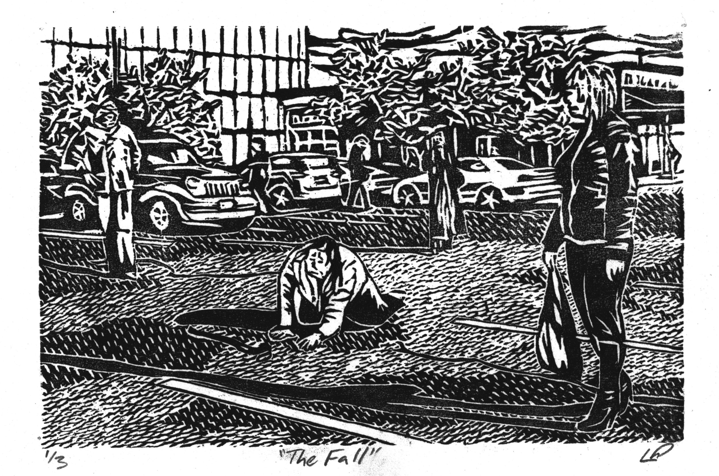 """""""The Fall"""" with Kristina St. Keverne, Disability Memory Series, Hand-printed Woodcut (2011)"""