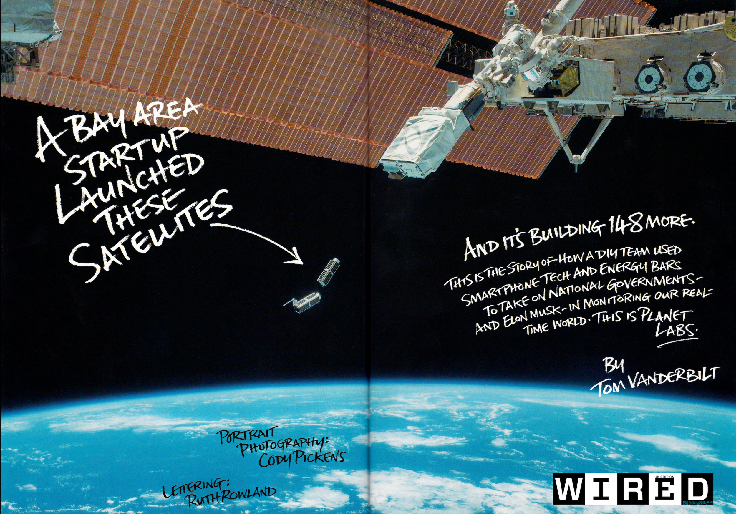 Page spread from WIRED article about Planet Labs. The script was a perfect fit to the artist's own proclivity to eloquent handwriting. PC:WIRED