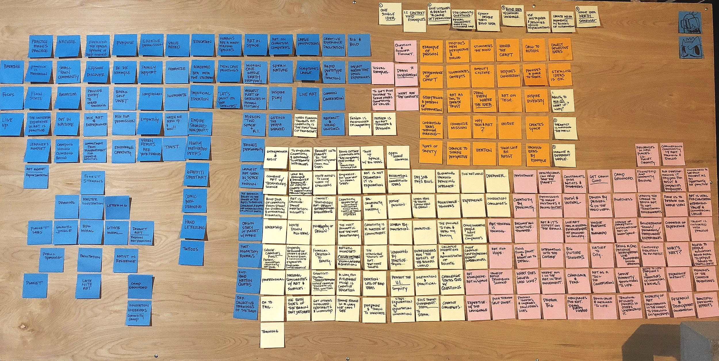 """The beginning of the post-it rodeo"""" mosaic that would eventually grow into a 13 minute speech."""