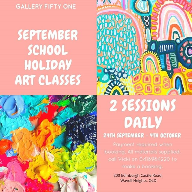 Classes are filling up fast. There are a few spaces available #artwithchildren #colourinspo #colour #painting #acrylicpaint #brisbanegallery #vickicorserartist #holidayfun #holidayartworkshops