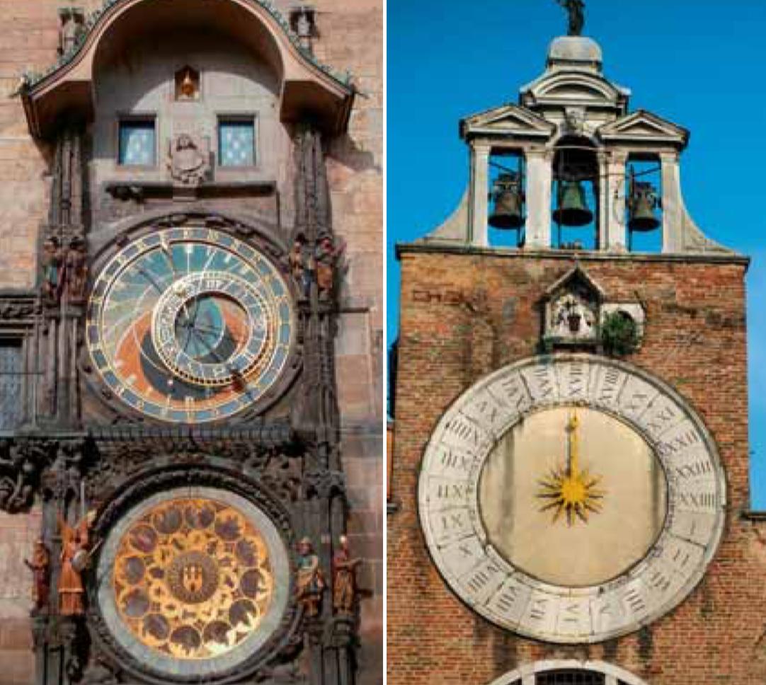 Links die astronomische Uhr von Prag mit ihren beiden detailreichen Zifferblättern. Rechts eine venezianische Uhr, die die Sonnenstunden auf einem 24 StundenZifferblatt mit der Sonne im Zentrum angibt. Man beachte die 4 Striche der 4 in römischen Ziffern.