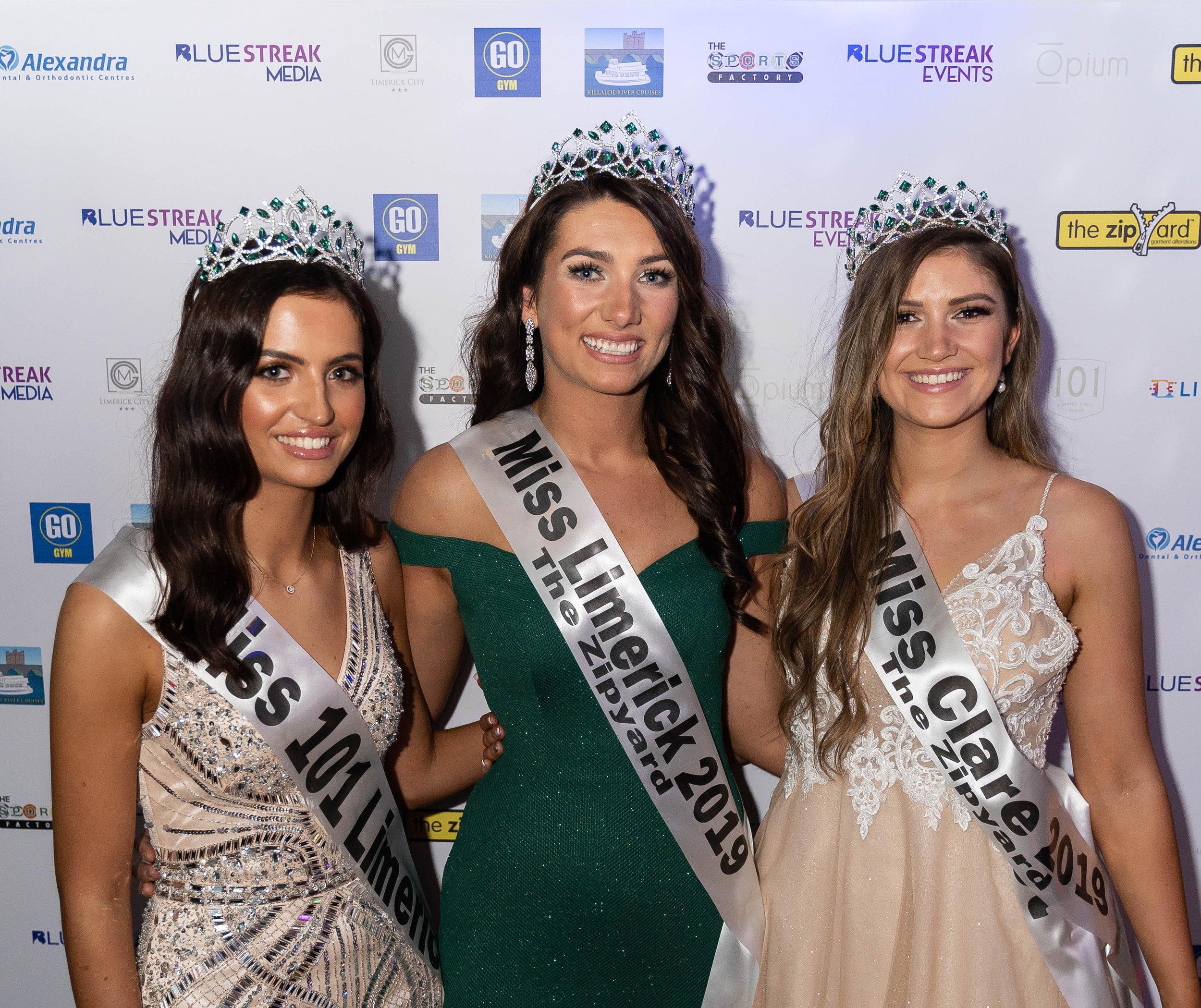 Miss 101 Limerick Christina Alcazar Deverell, Miss Limerick 2019 Ciara O'Halloran, Miss Clare 2019 Emma Austin.