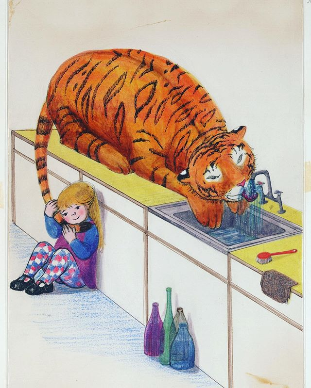 Ieri se n'è andata Judith Kerr, leggendaria illustratrice inglese, autrice di grandi classici tra cui il surreale Una tigre all'ora del tè. La vogliamo ricordare con una delle sue bellissime illustrazioni. Ciao Judith 👋🏻😢❤️ . 🇬🇧 Judith Kerr, the legendary British author and illustrator died yesterday. Her book The Tiger Who Came to Tea is and will remain one of the greatest classic books in children literature. We want to remember her with one of her illustratrations. Ciao Judith 👋🏻😢❤️ . #judithkerr #thetigerwhocametotea #unatigrealloradelte #childrenbook