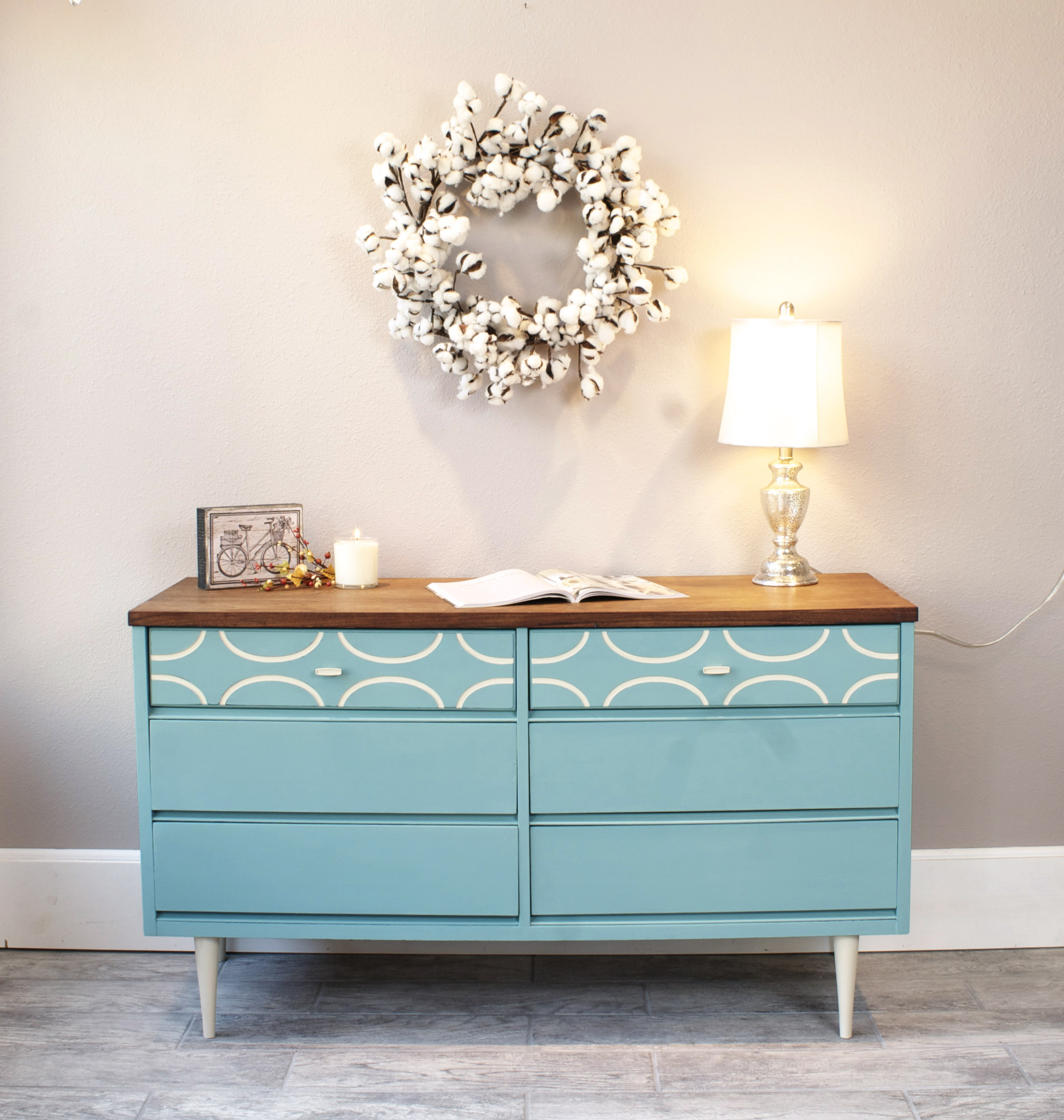 Mid-Century Modern dresser, painted in Annie Sloan Provence Chalk Paint® with Annie Sloan Old Ochre Chalk Paint® detailing. Sealed with clear wax. Beautiful wood top was finished with Hemp Oil.  $350.00 SOLD