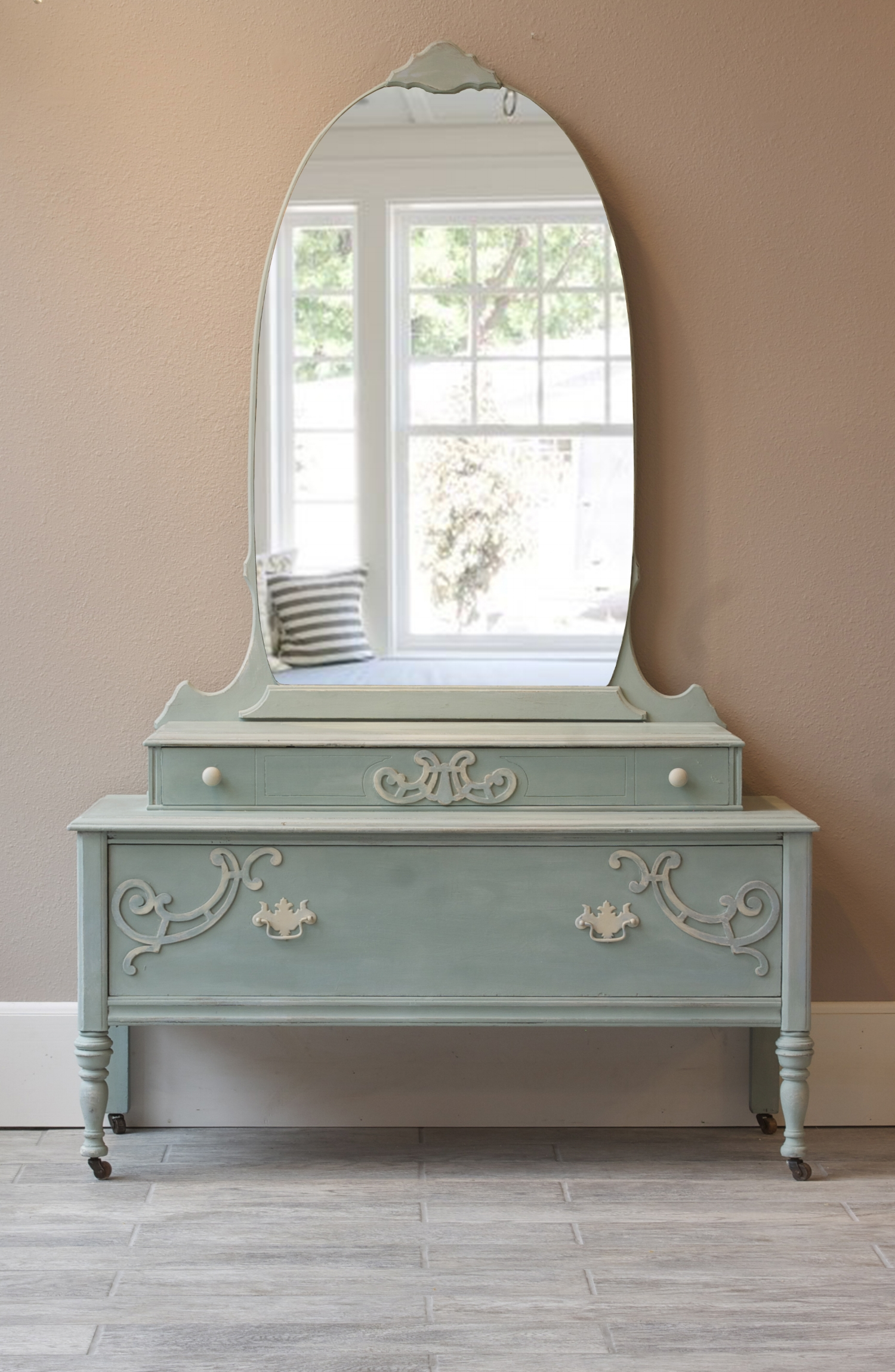 "Gorgeous Victorian vanity finished using 4-color layered process. Colors used: Annie Sloan Chalk Paint® in French Linen, Old Ochre, Duck Egg, and Louis Blue. Hardware was finished using Old Ochre and Louis Blue. Slightly distressed finish. Sealed with clear wax.  Dimensions: Length - 44"", Depth - 18"", Height - 69""/26"" without mirror.   $250.00 SOLD"