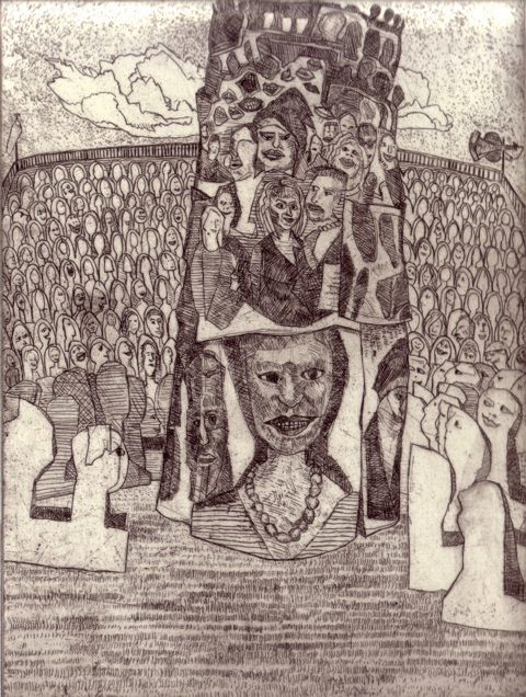 Babel, remember it's your tower (Etching - 2008 - 20x15cm