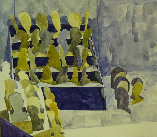 Watching Heads (2008 - Watercolour - 31x36cm)