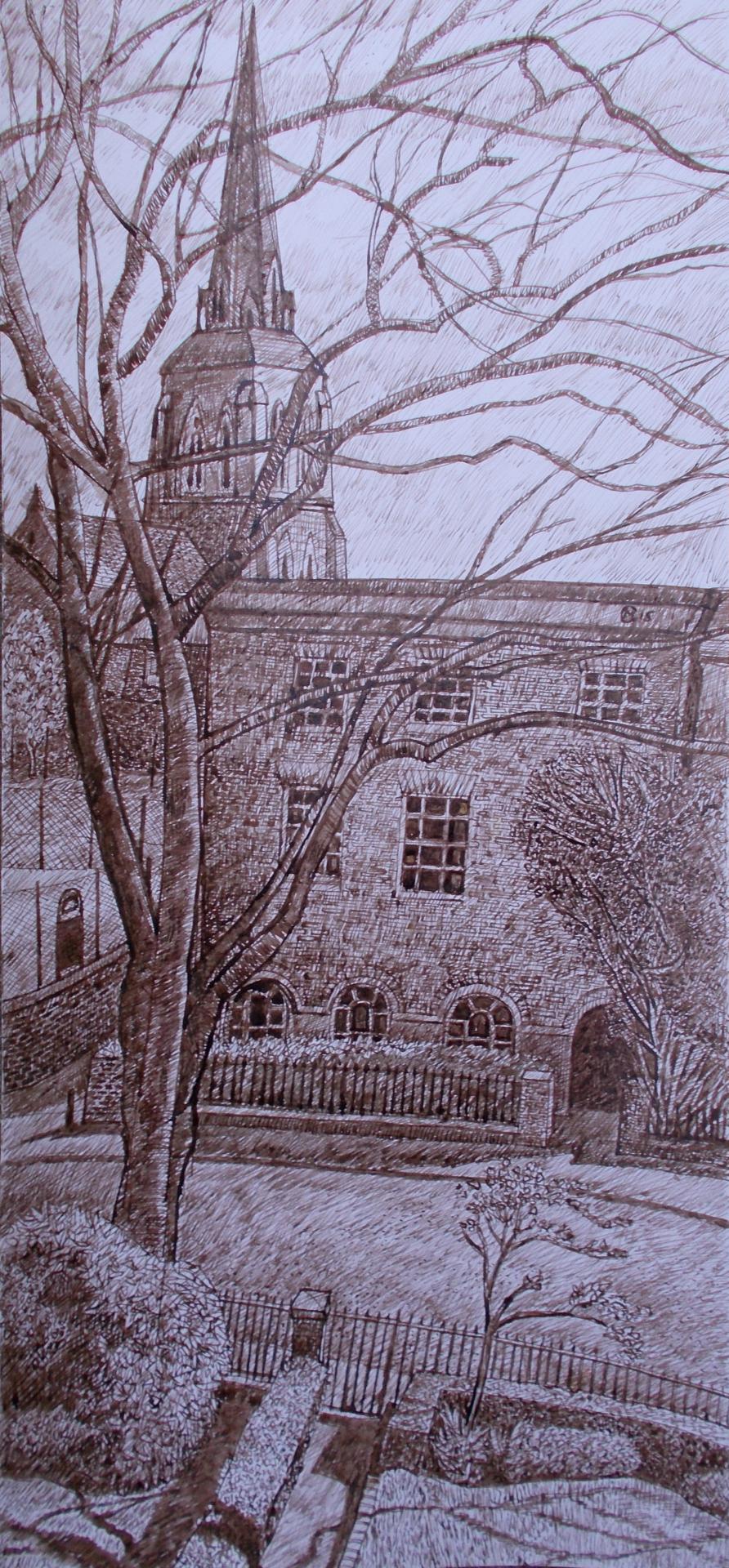 Houses near Denmark Hill - 2015 - Pen & Ink