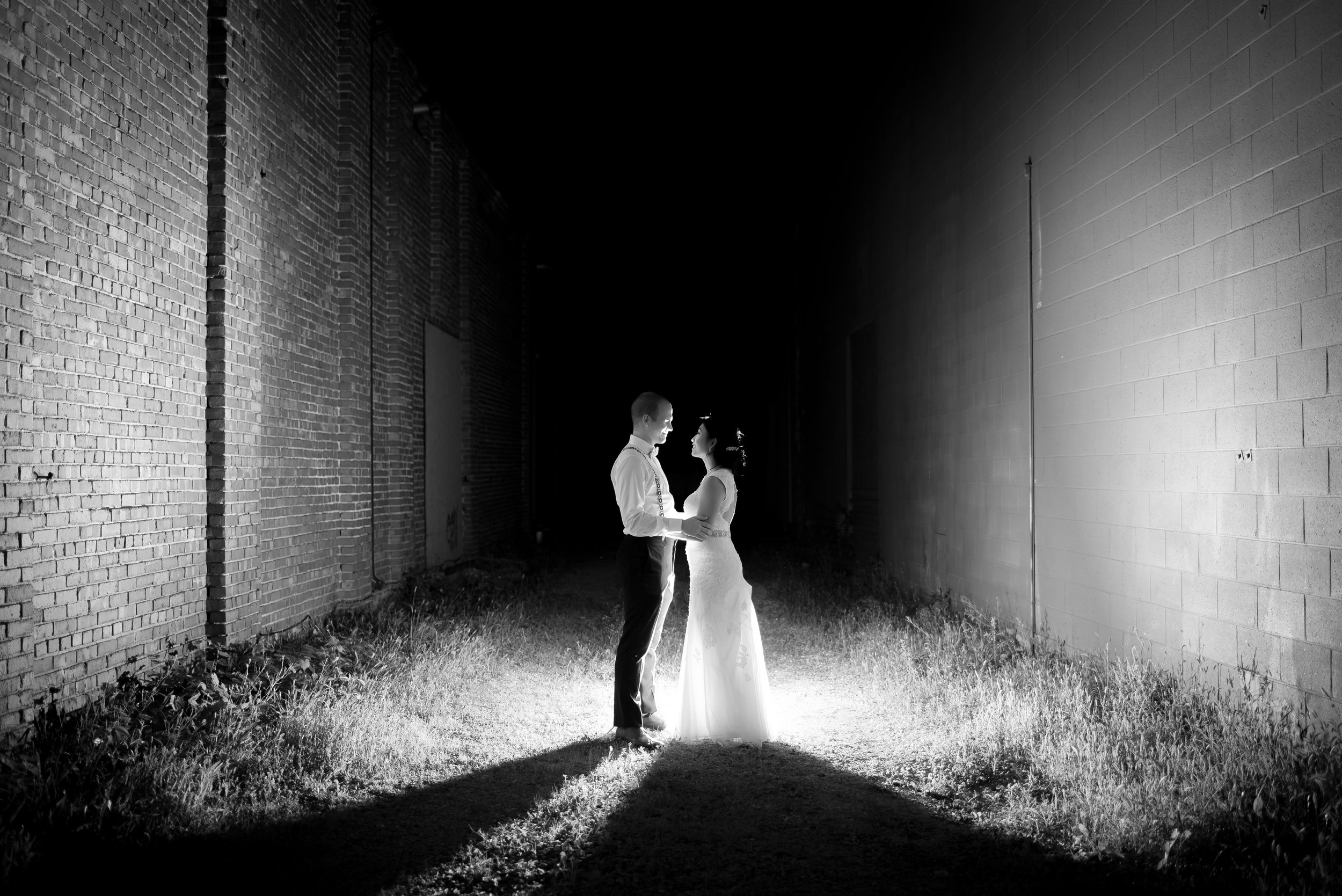 Nighttime Wedding Portrait with Off Camera Flash