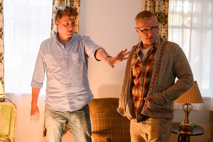 Jeff Nichols, left, with Joel Edgeton on set. - Courtesy of Focus Features.