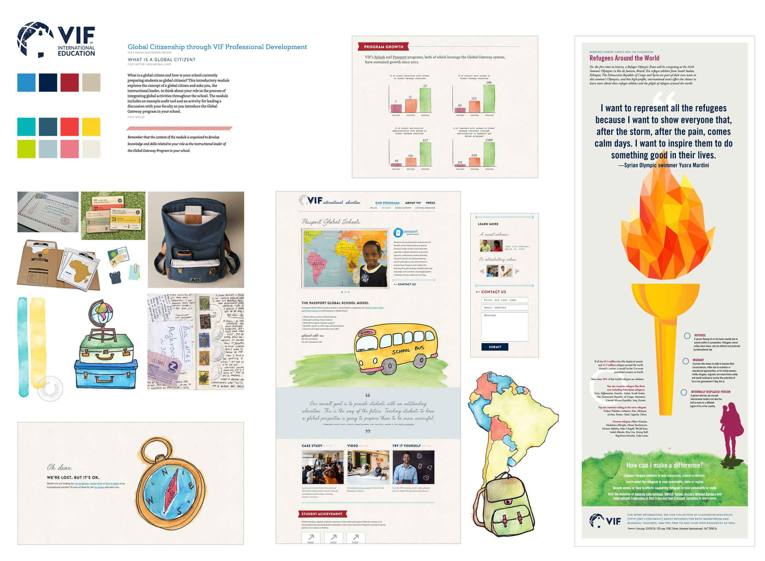 These visual design samples include moodboard, typography, web, reporting and advertising samples