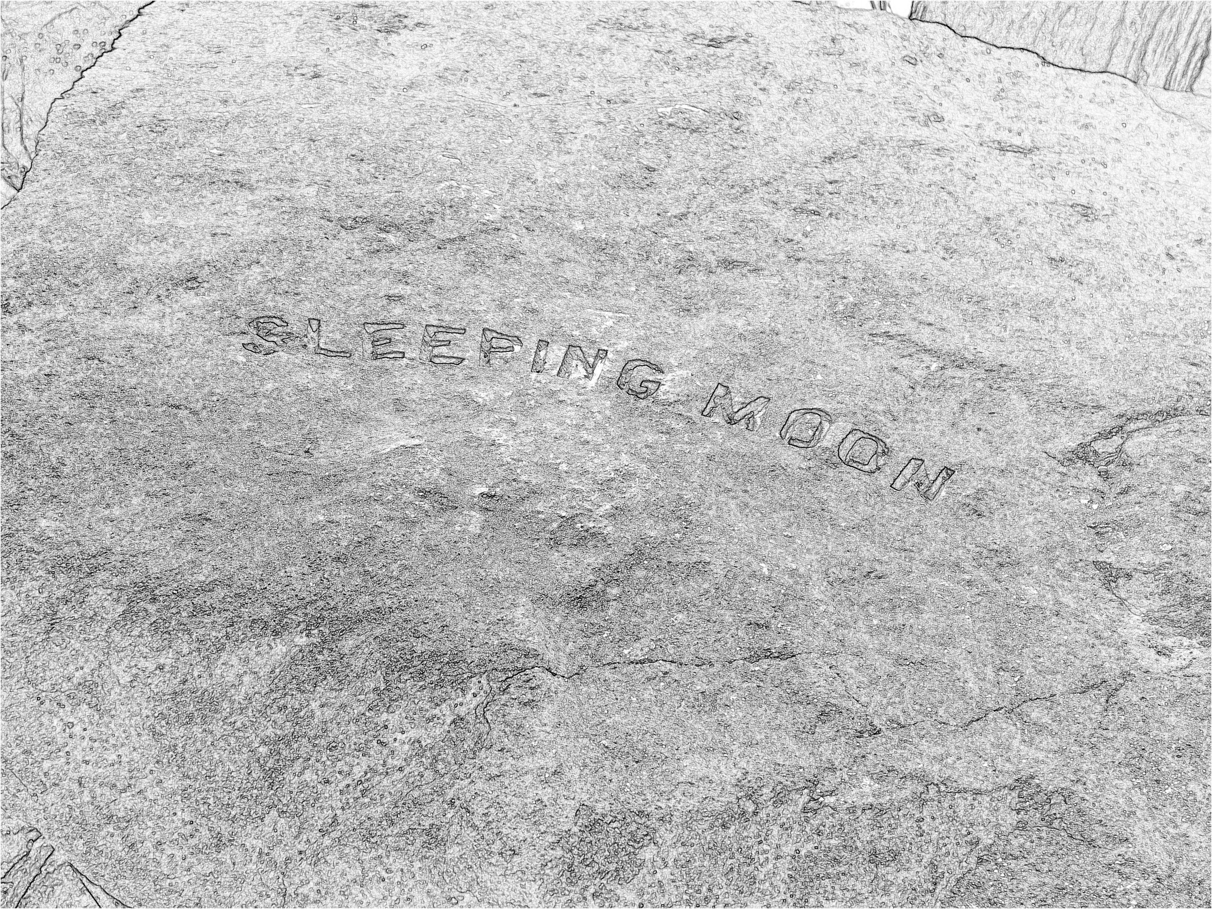"""The """"Sleeping Moon"""" rock, a """"one-pager"""", is one of a series I found in Arlington, Virginia."""