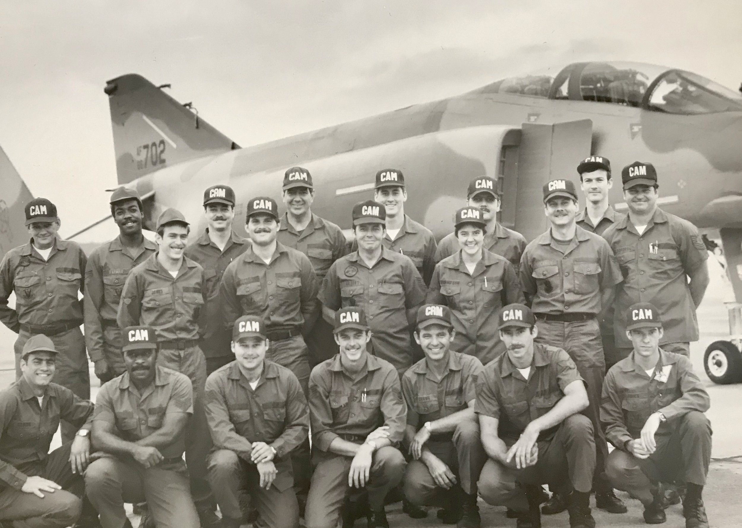 "This is part of the gold in my pocket. 116th Consolidated Aircraft Maintenance Squadron (CAMS), Weapons Load Shop, ""A"" flight circa 1983/4 on the flight line at (then) Dobbins AFB, Marietta, Georgia. Cold Warriors and one of the best ""tribes"" ever. As far as I know none are still serving and a few have passed. God speed lady and gentlemen. I love you all and miss you dearly."