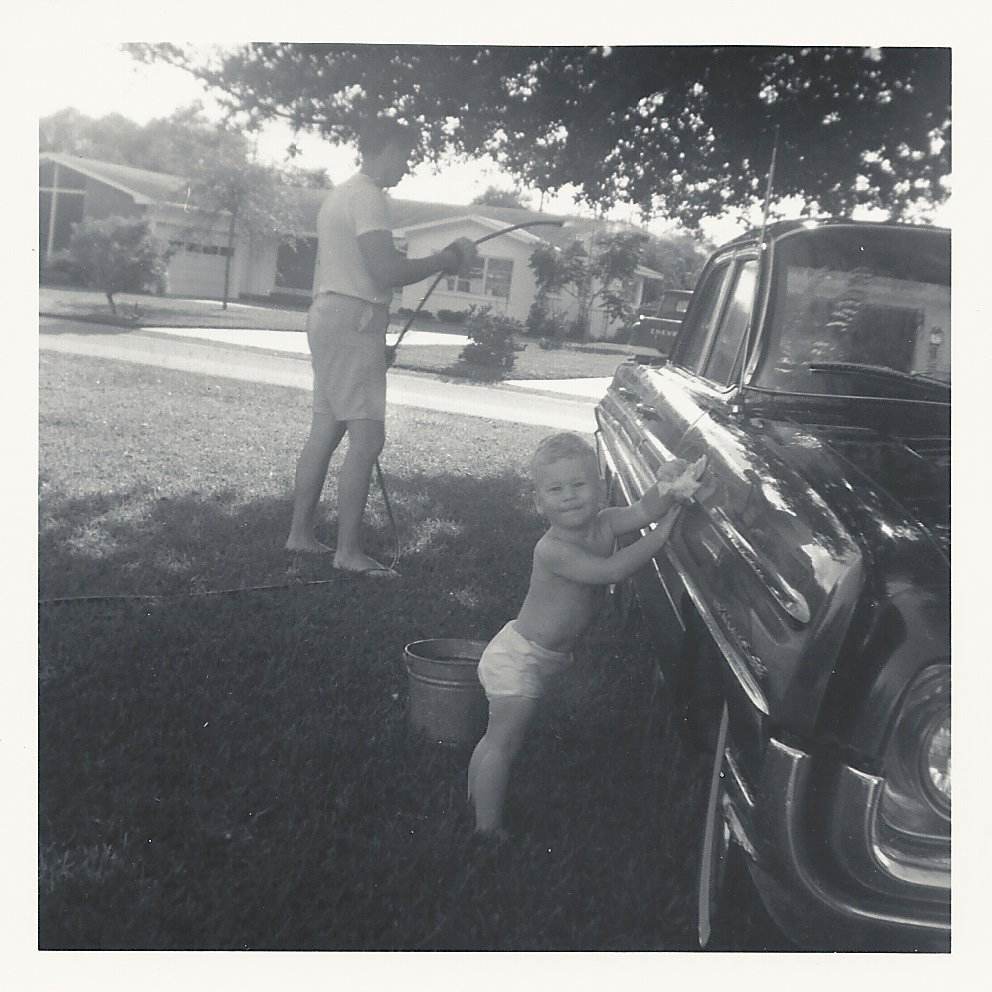 Permanence: Helping my father wash his car in Lakeland, Florida circa 1966/7.