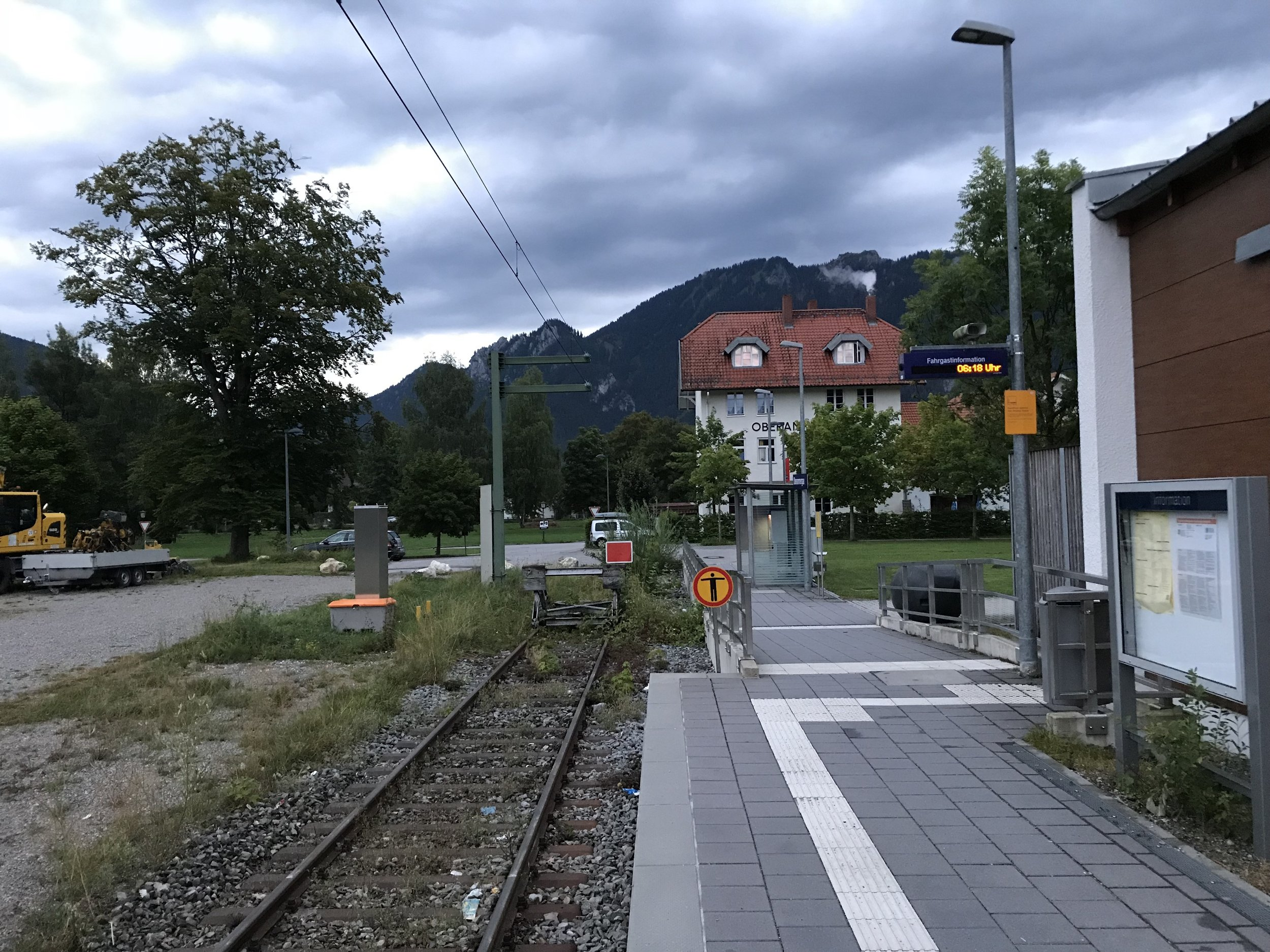The end-of-the-line: Oberammergau Train Station, August 24, 2018, around 6 o'clock in the morning.