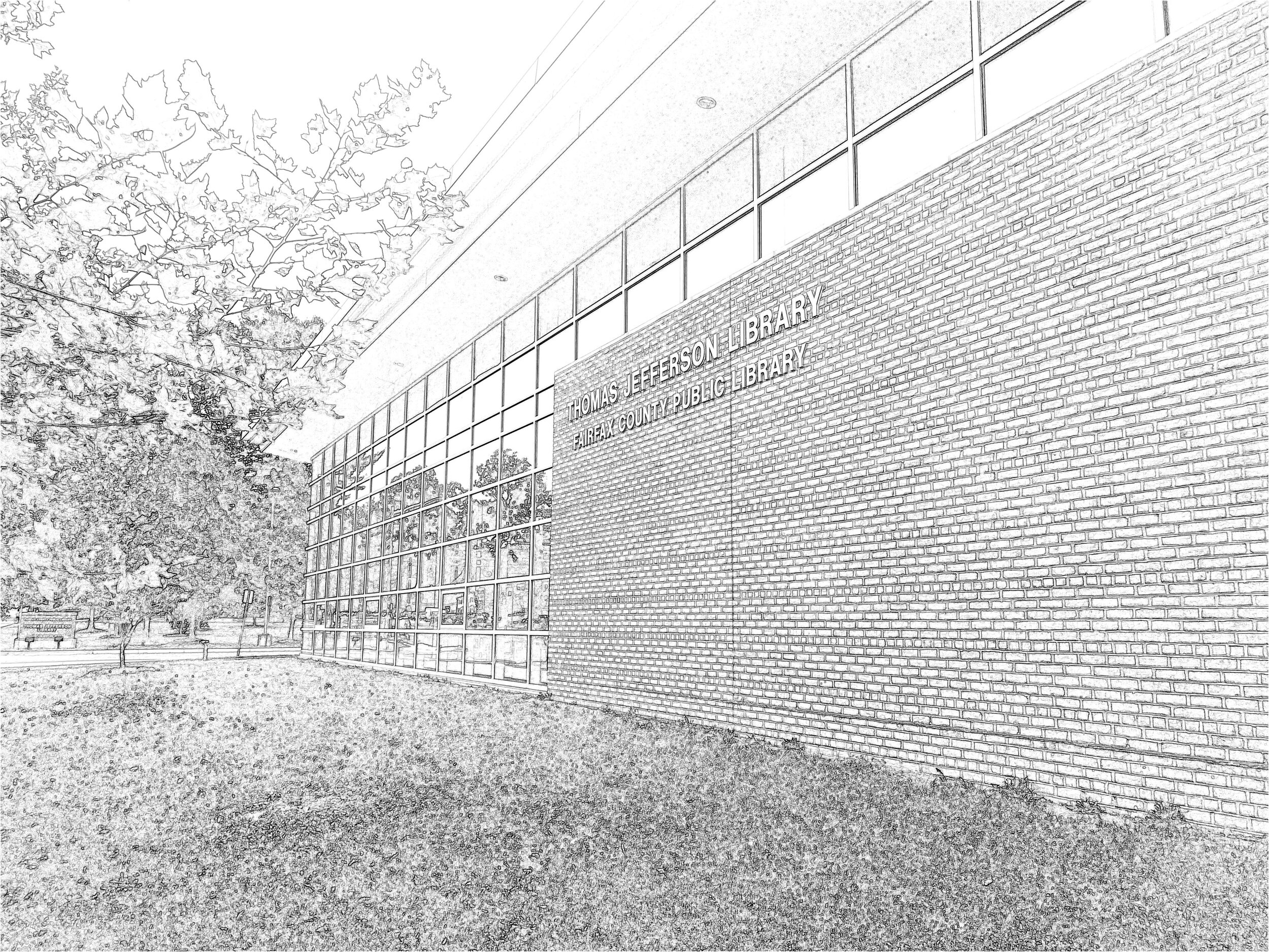 The Thomas Jefferson branch of the Fairfax County Library system. The Dato's Haberdashery website was launched here on Saturday, October 14, 2017. (Produced with my iPhone and the PhotoSketcher app.)