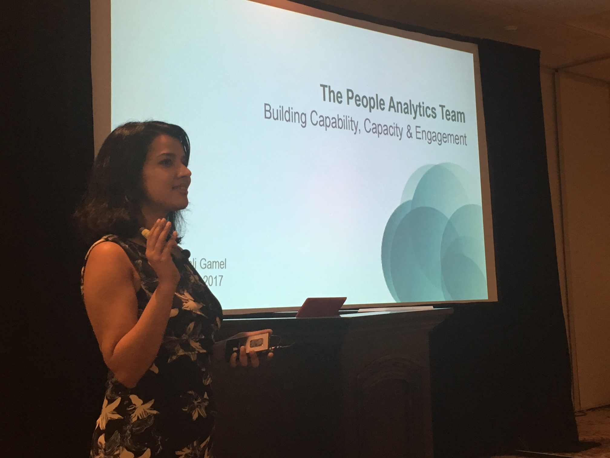 Geetanjali Gamel speaking at the People Analytics & Future of Work Conference in Philadelphia in September 2017