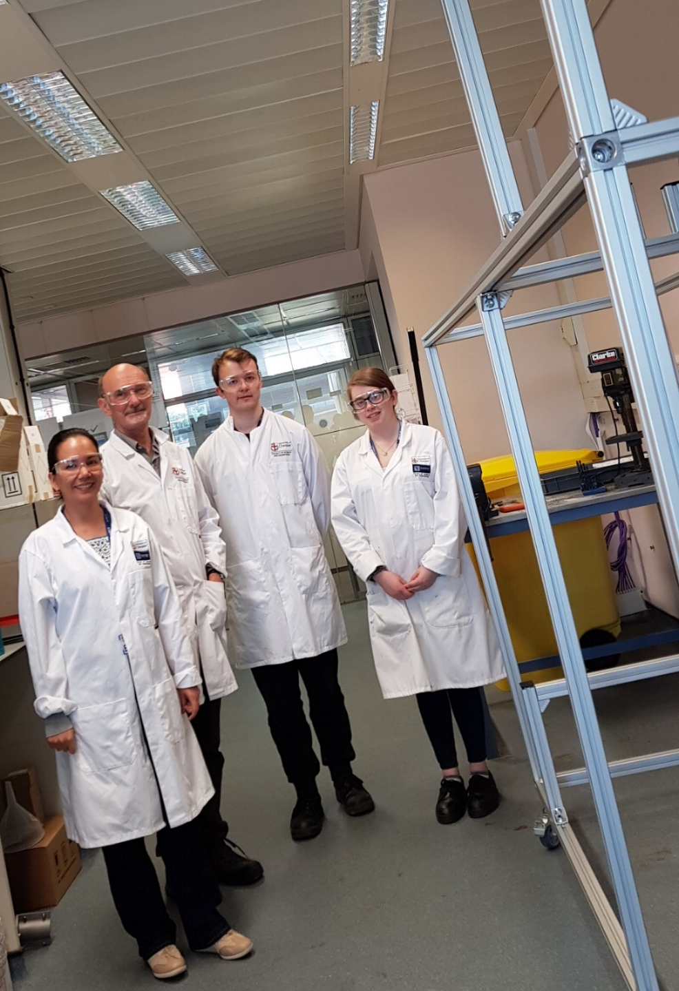 Team (left-to-right): Carolina Font-Palma (Senior Lecturer), Paul Willson (Director of PMW Technology Ltd), David Cann (PhD candidate), Katie Russell (Placement student). Photo by Newsun Jose